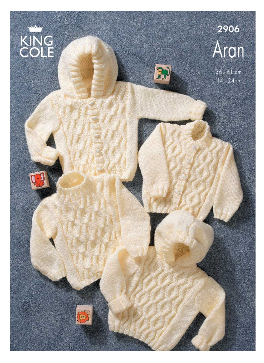 King Cole Aran Knitting Pattern Baby Cable Knit Long Sleeve Sweater Jacket 29...