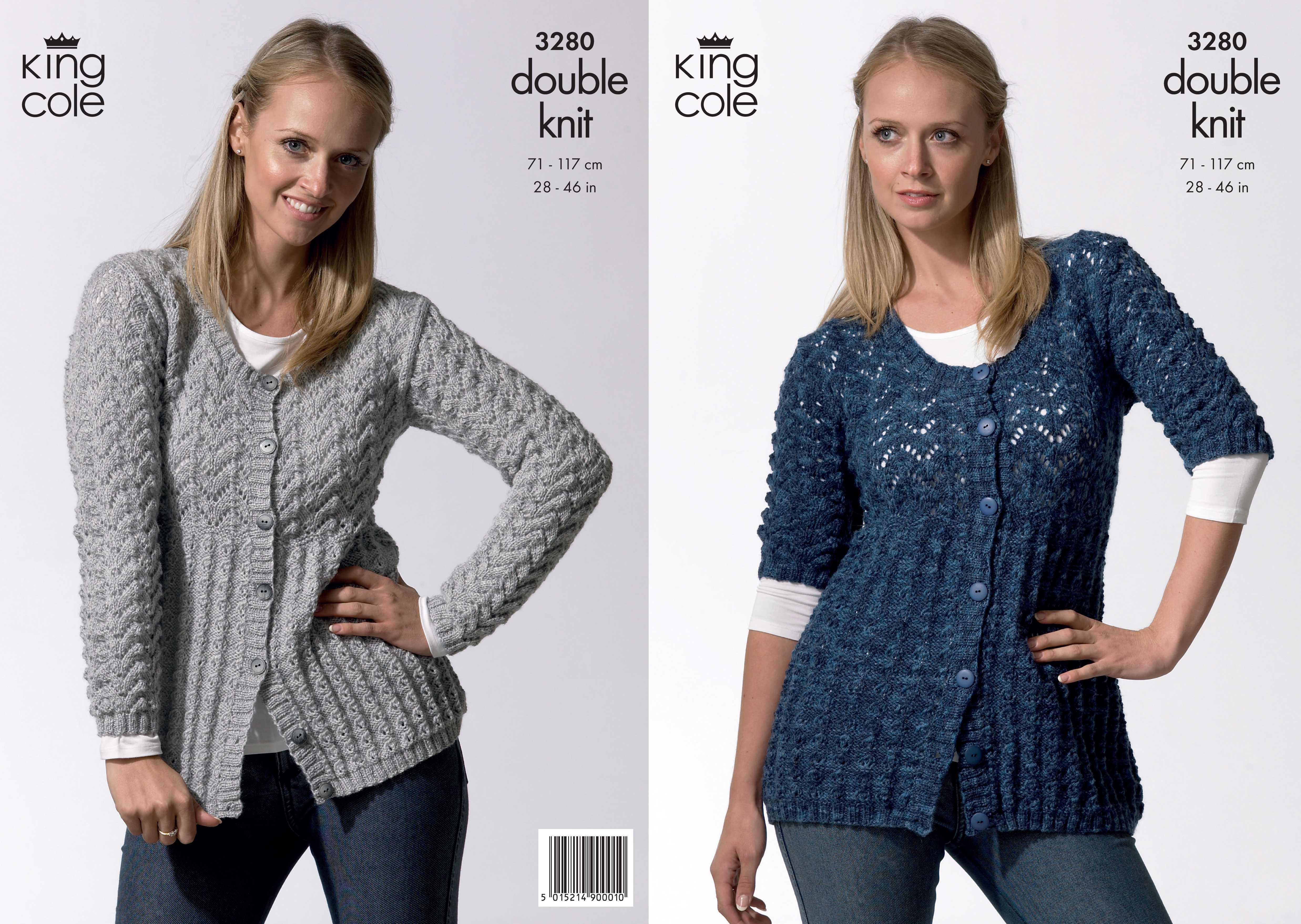 King Cole Ladies Double Knitting DK Pattern Long Short Sleeve Lacy Cardigan 3...