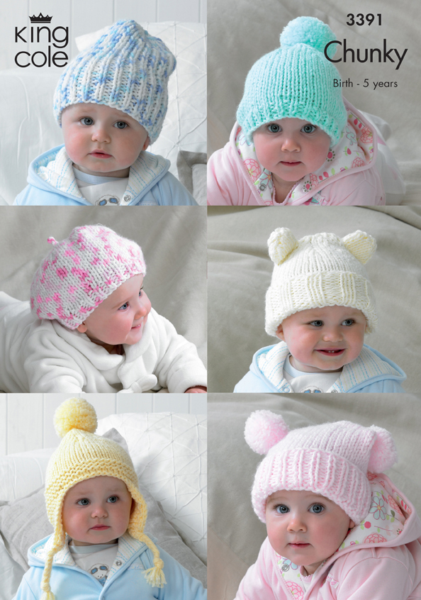 Knitting Pattern For Bobble Hat For Babies : Chunky Knitting Pattern Baby Hats Bobble Hat Beanie Beret Ribbed King Cole 33...