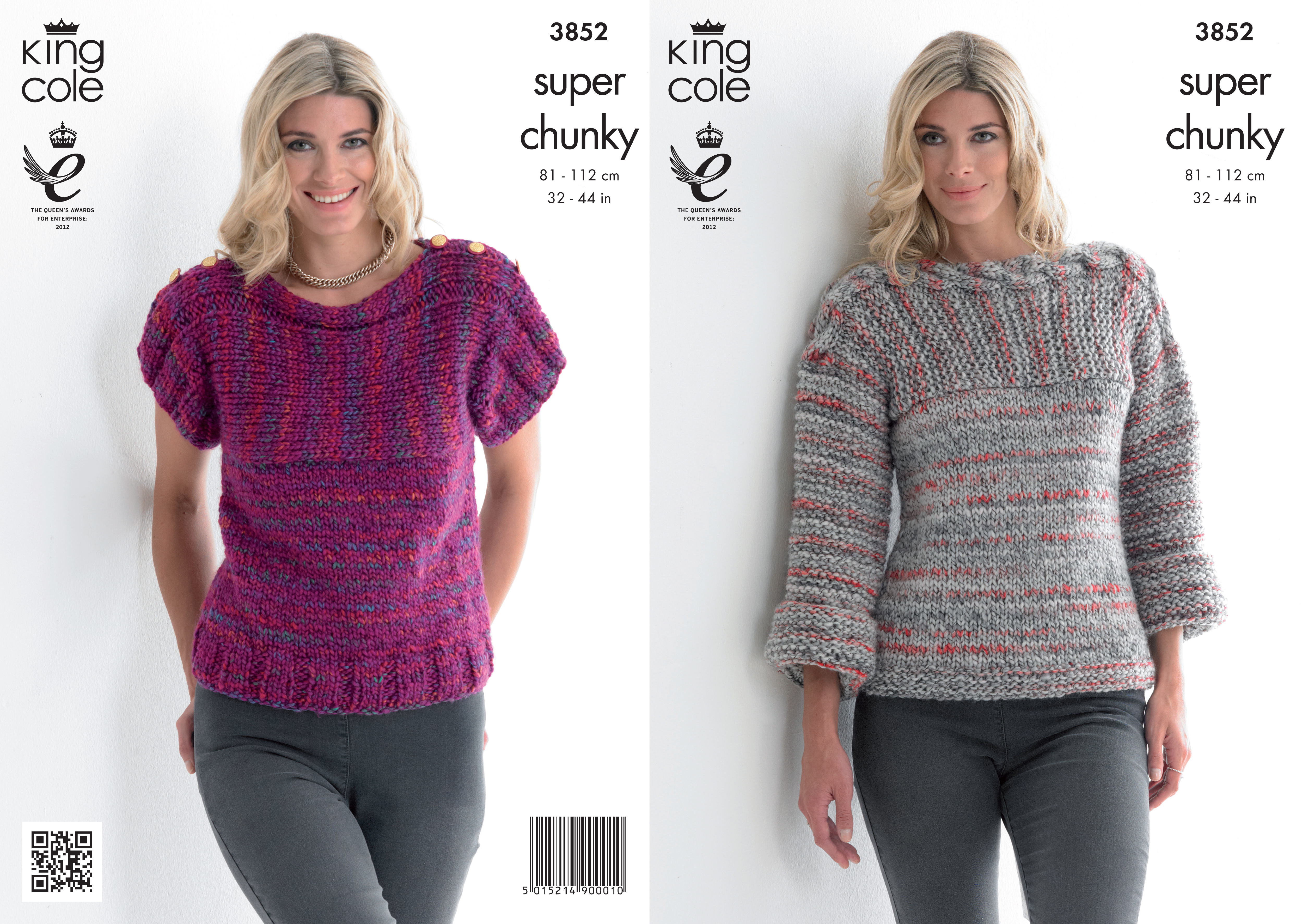 King Cole Ladies Cardigan Knitting Pattern : King Cole Ladies Gypsy Super Chunky Knitting Pattern Womens Sweater Top 3852 ...
