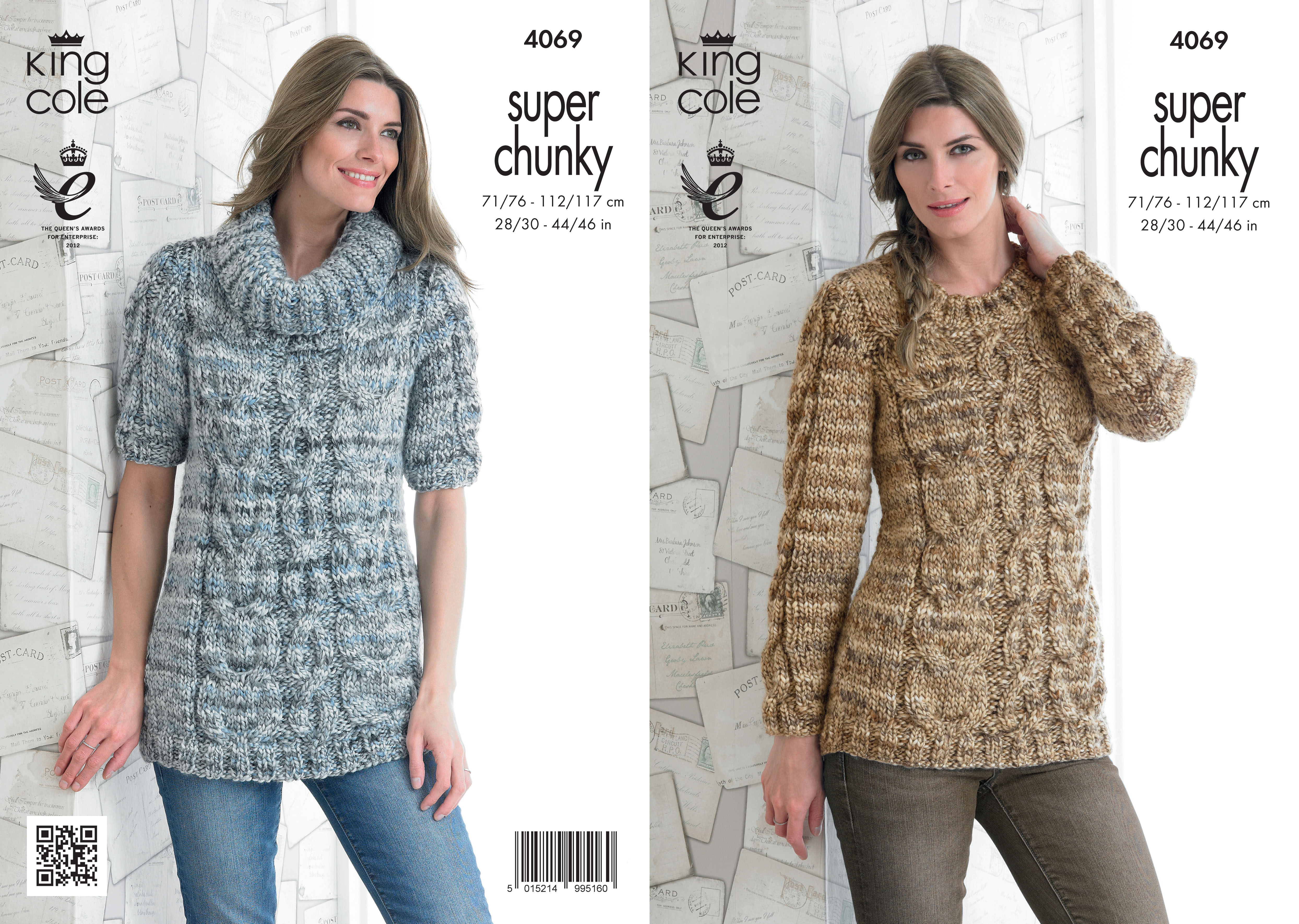 Free Knitting Pattern Ladies Chunky Jumper : Ladies Gypsy Super Chunky Pattern King Cole Cable Knit Cowl Neck Jumper 4069 ...