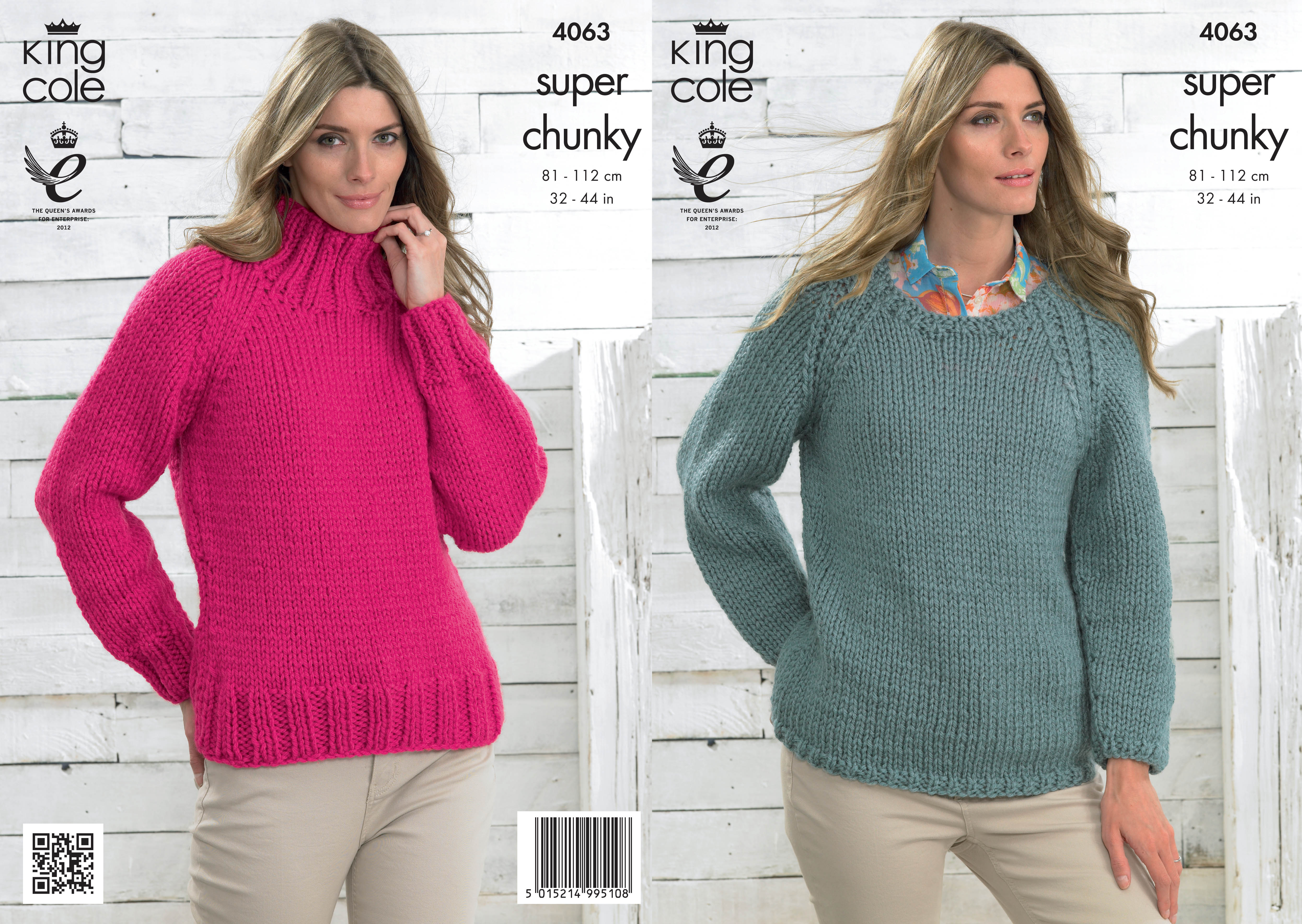 Ladies Jumper Knitting Patterns : Ladies Super Chunky Knitting Pattern King Cole Long Sleeved Sweater Jumper 40...
