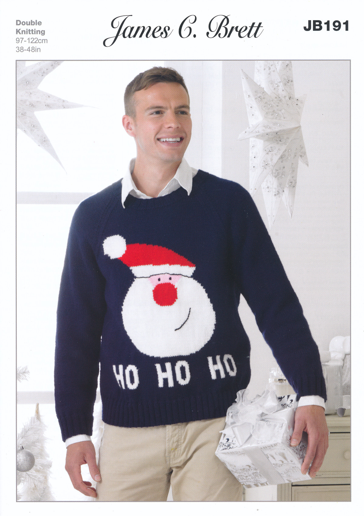 James Brett Double Knitting DK Pattern Mens Christmas Santa Jumper Sweater JB...