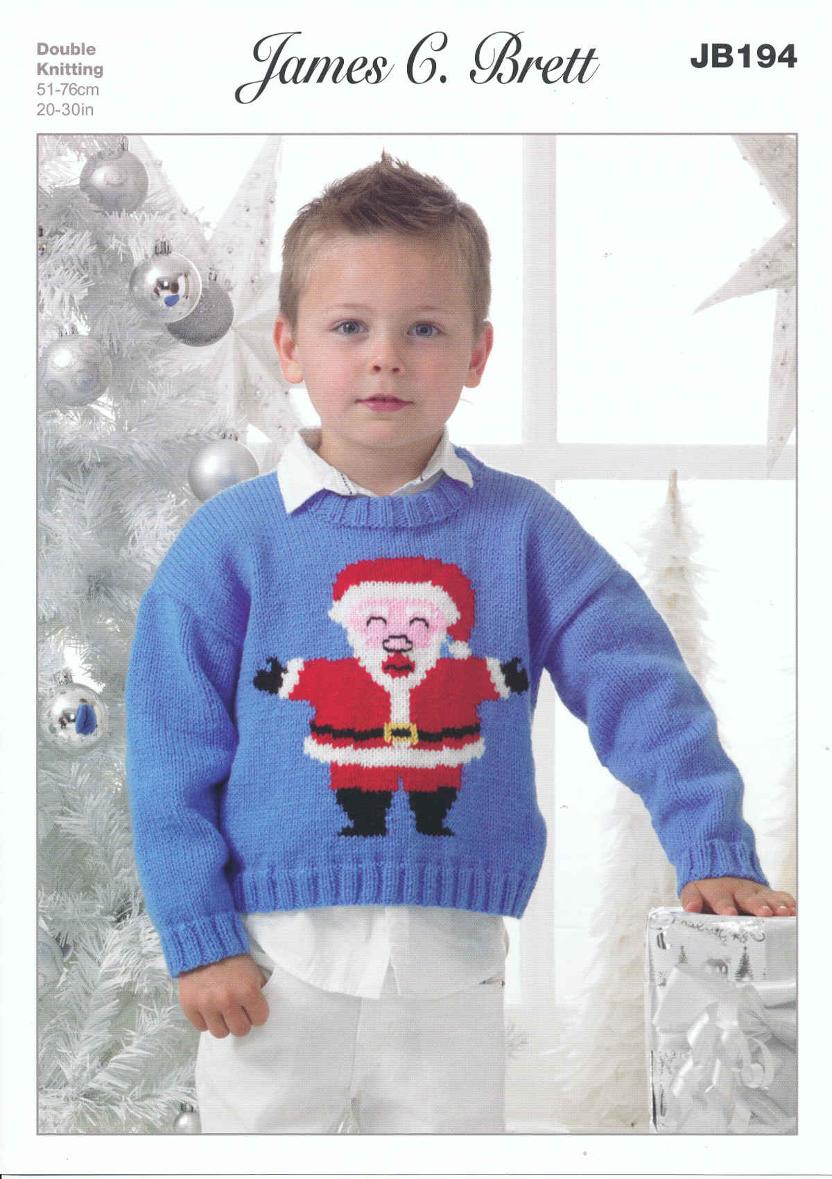 Knitting Patterns For Children s Christmas Jumpers : James Brett Double Tricot Modele Enfants No?l Pere No?l Pull pull JB194 eBay