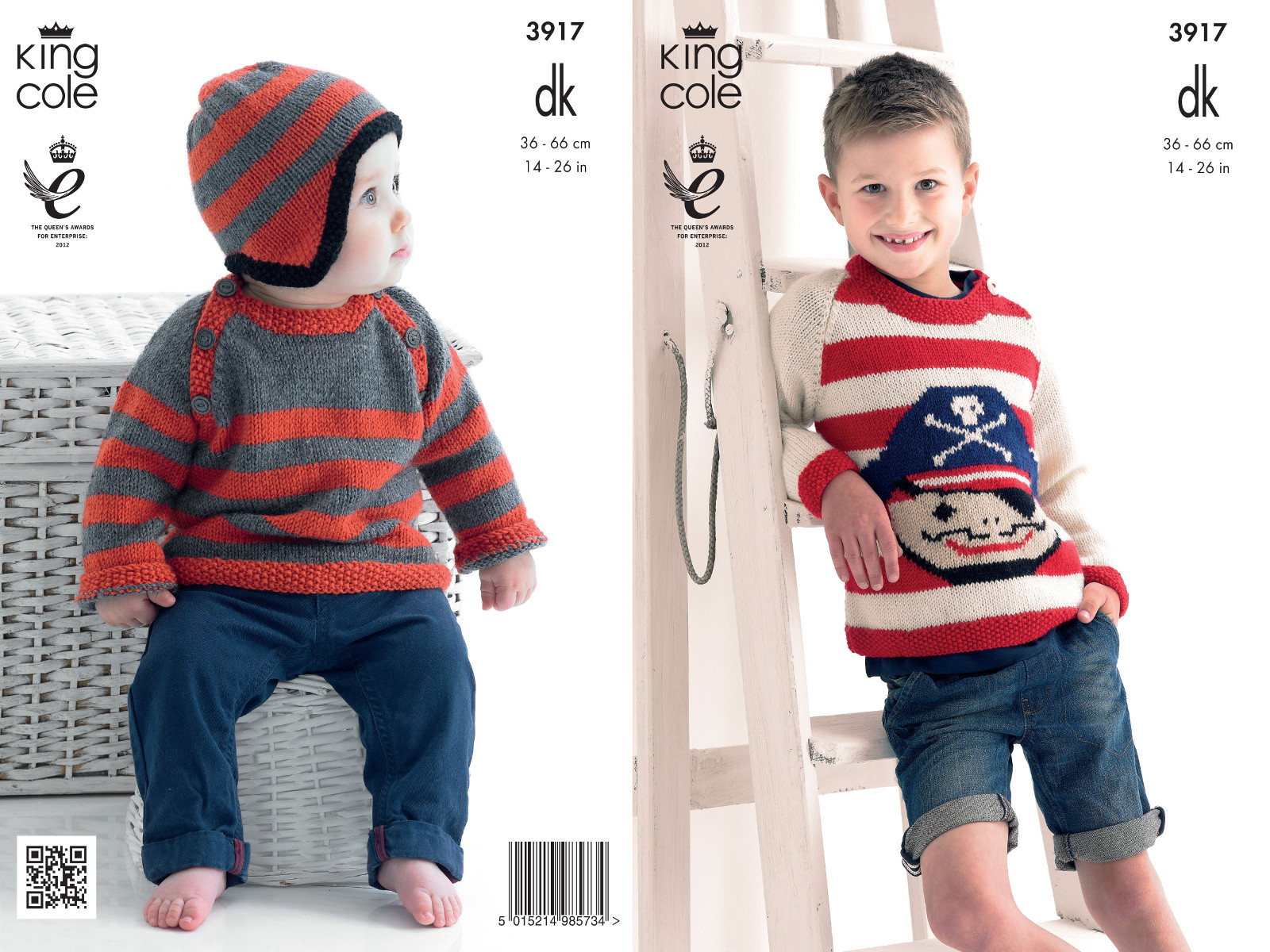 Knitting Pattern Pirate Jumper : Boys Double Knitting Pattern King Cole DK Striped Pirate Jumper Sweater Hat 3...