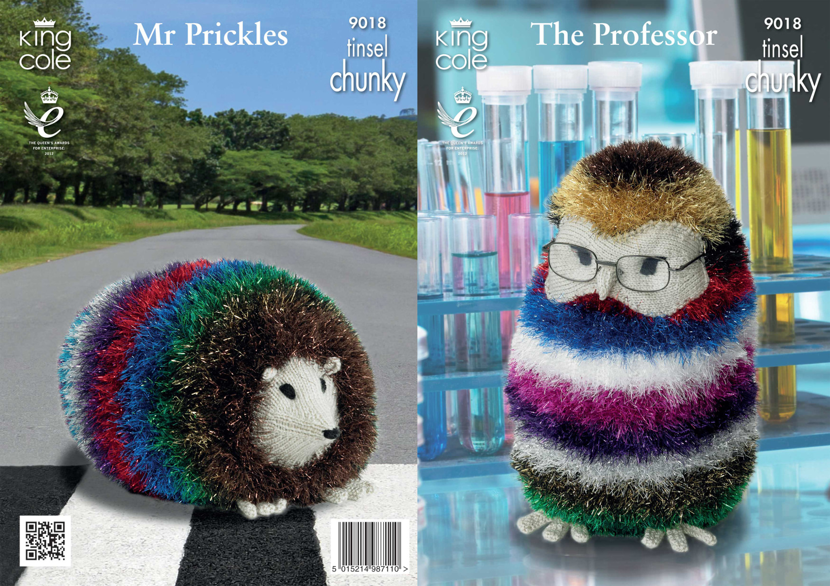 King Cole The Professor Owl & Mr Prickles Hedgehog Tinsel ...