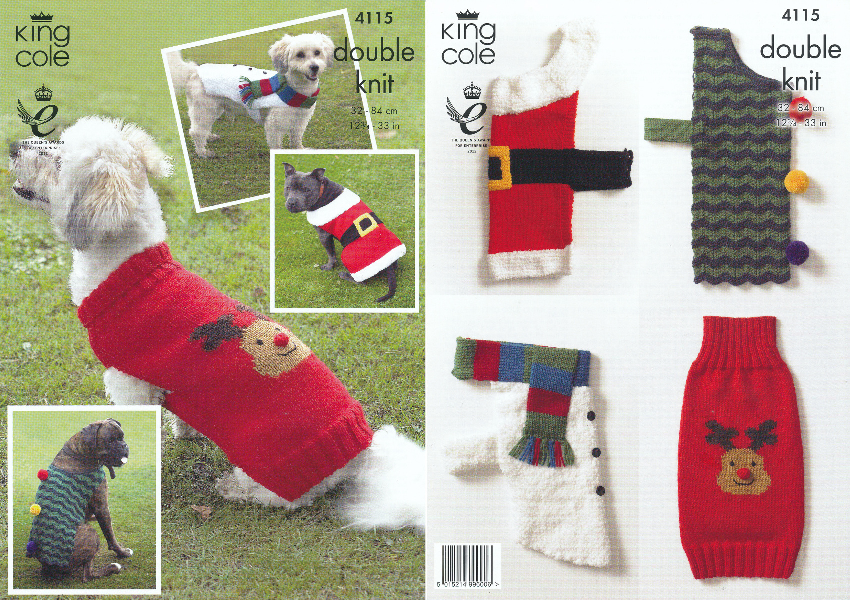 King Cole Snowman Knitting Pattern : King Cole Double Knitting Pattern Dog Coats Snowman Santa Rudolph Xmas Tree 4...