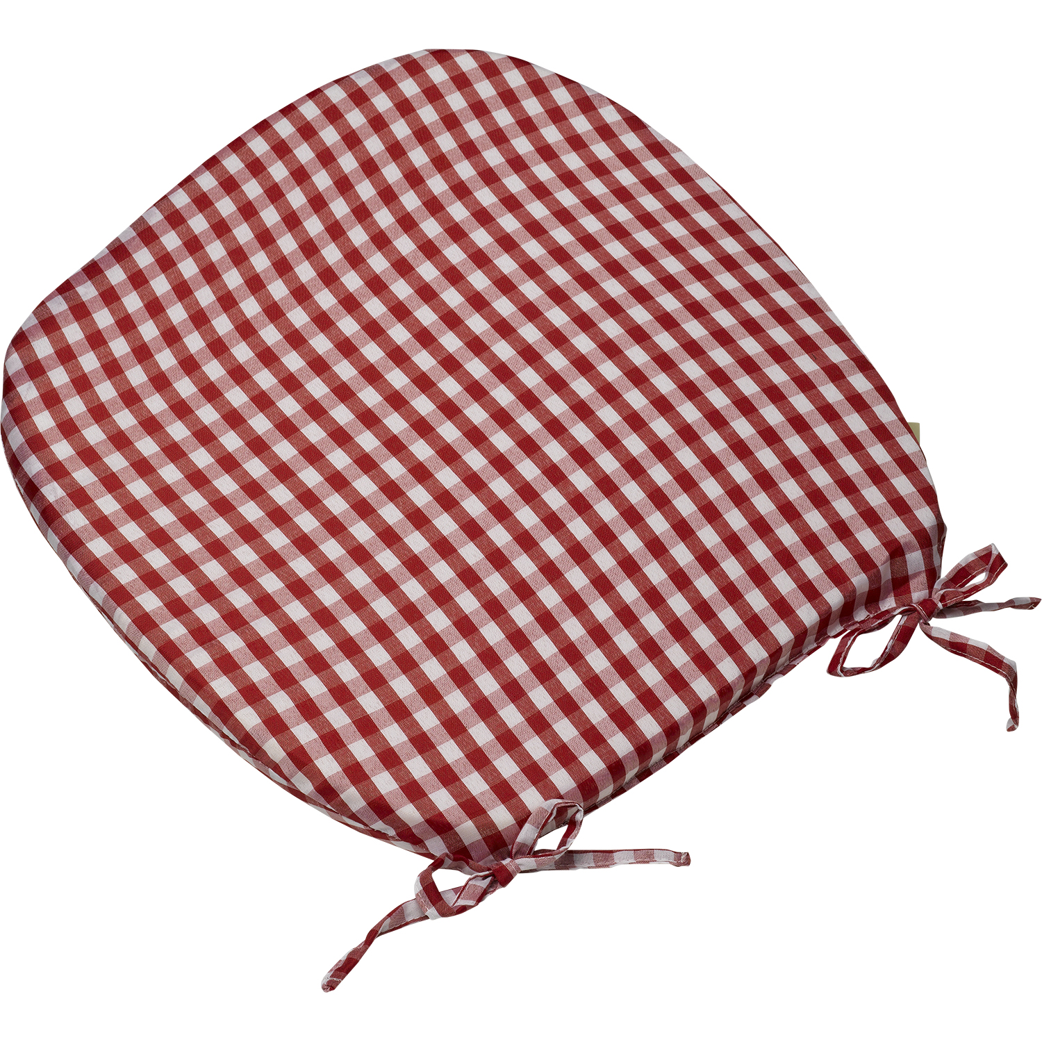Elegant Tie On Rounded Gingham Chair Seat Pad Cushion