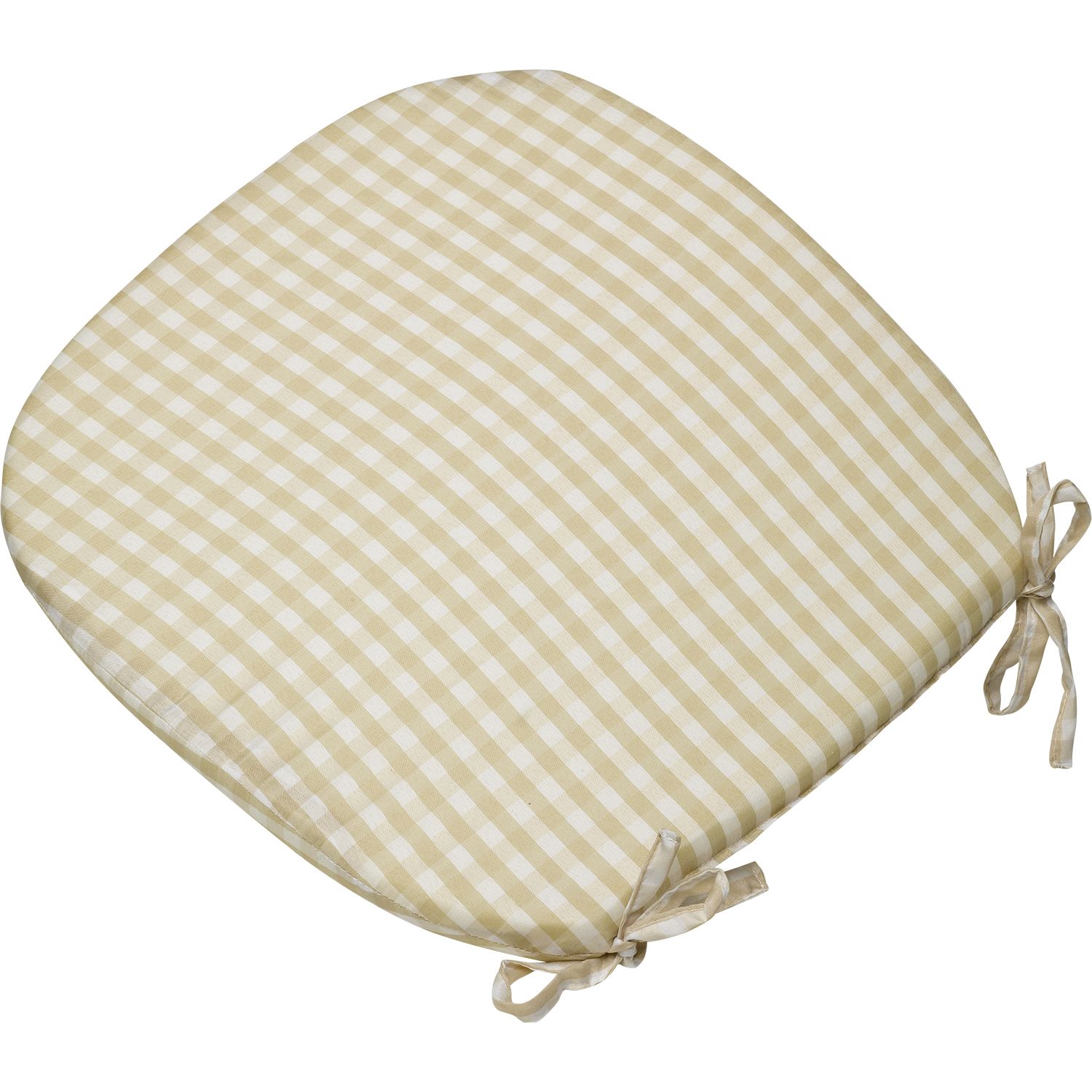 Outdoor dining chair cushions - Gingham Check Tie On Seat Pad 16 034