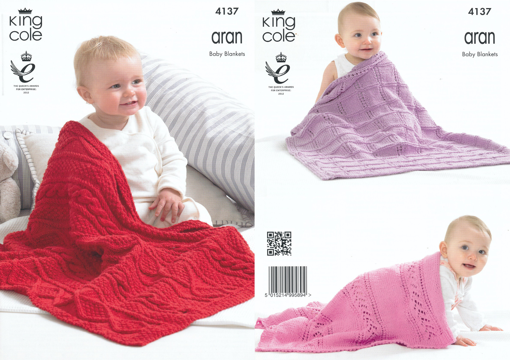Baby Blankets Aran Knitting Pattern King Cole Cable Knit Lace Eyelet Throws 4...