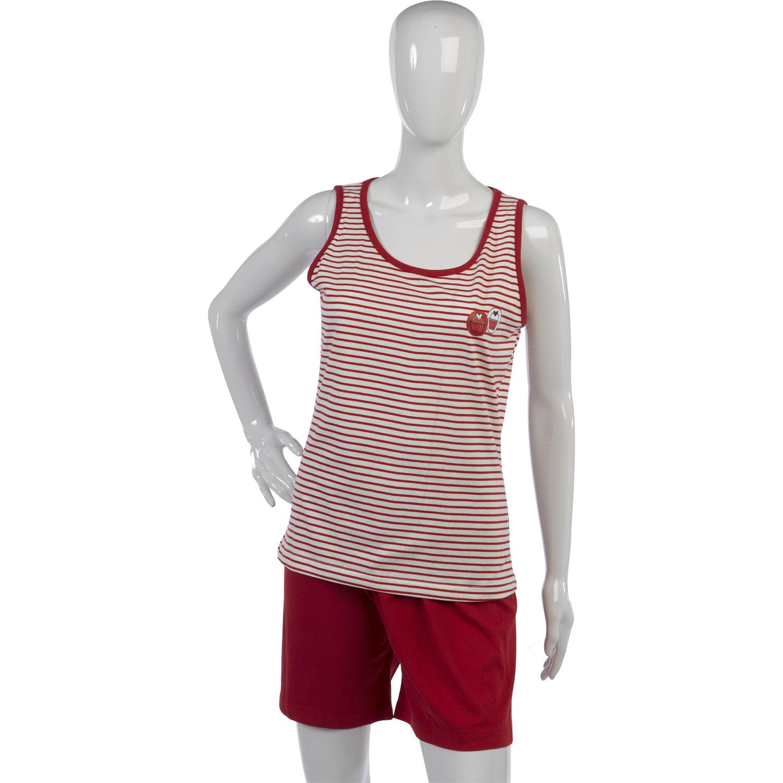 Womens 100/% Cotton Striped Cupcake Detail Pyjamas Sleeveless Top Shorts PJs Set