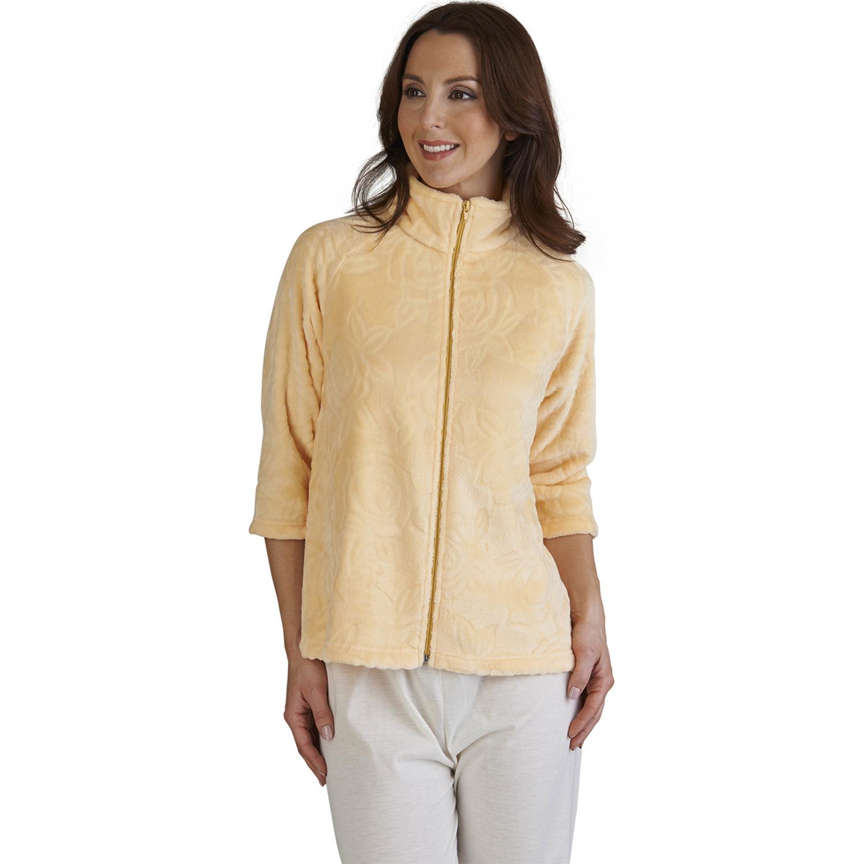 Slenderella Ladies Super Soft Fleece Rose Jacquard Bed Jacket Zip ...