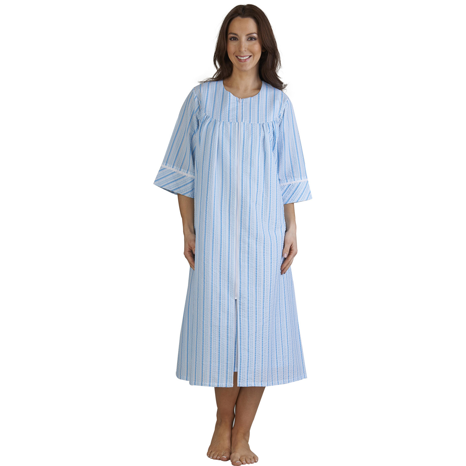 Womens Seersucker Stripe Zip Up Bathrobe Slenderella ...