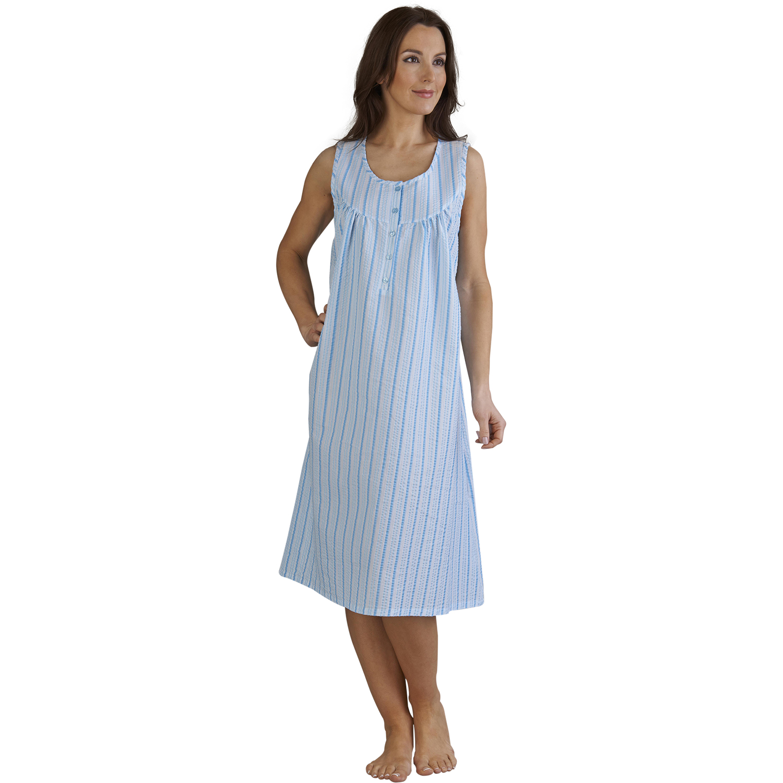 womens seersucker stripe sleeveless night dress ladies. Black Bedroom Furniture Sets. Home Design Ideas