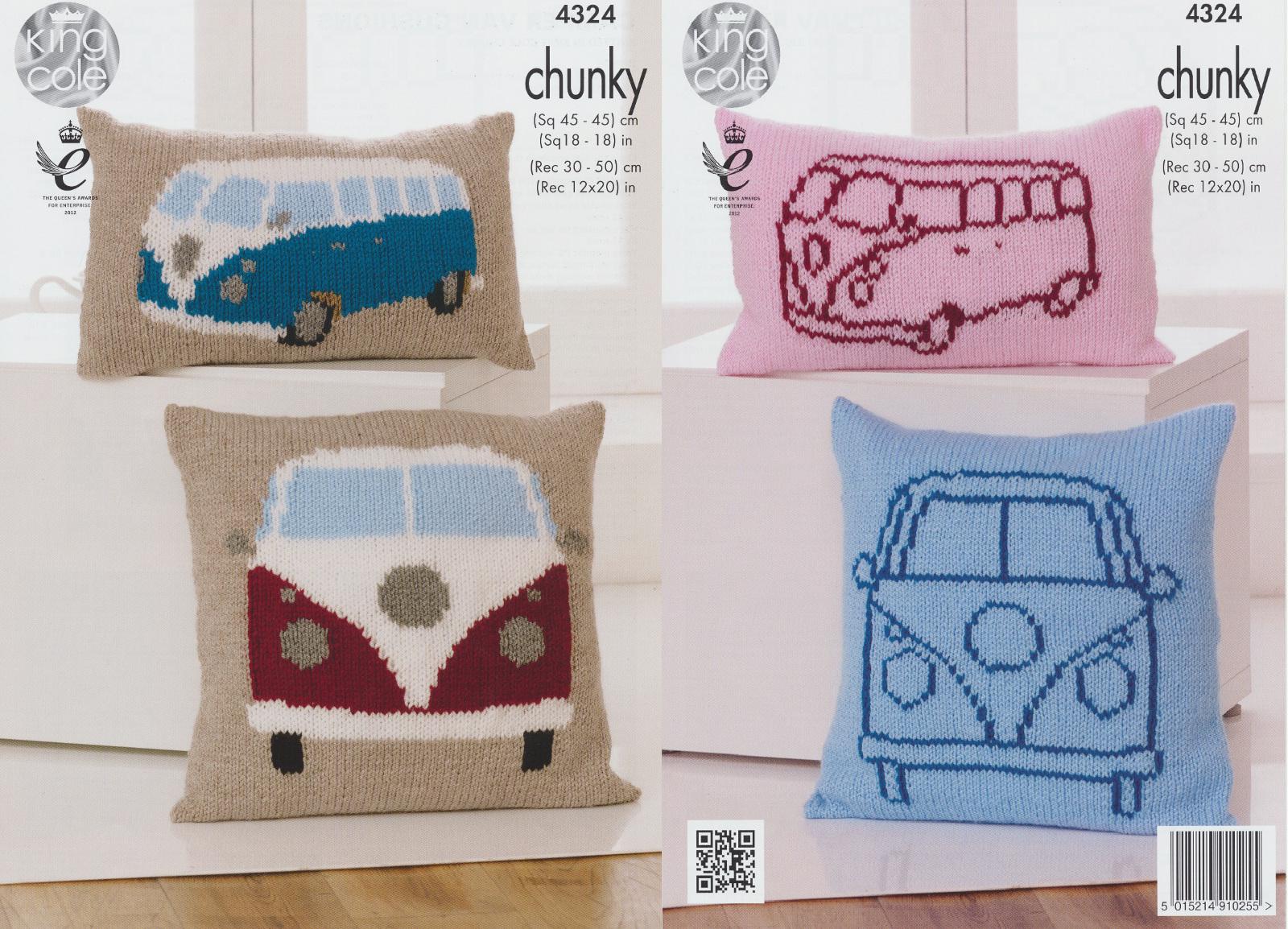 King Cole Campervan Knitting Pattern : King Cole Chunky Knitting Pattern VW Camper Van Knitted Cushions Vintage 4324...