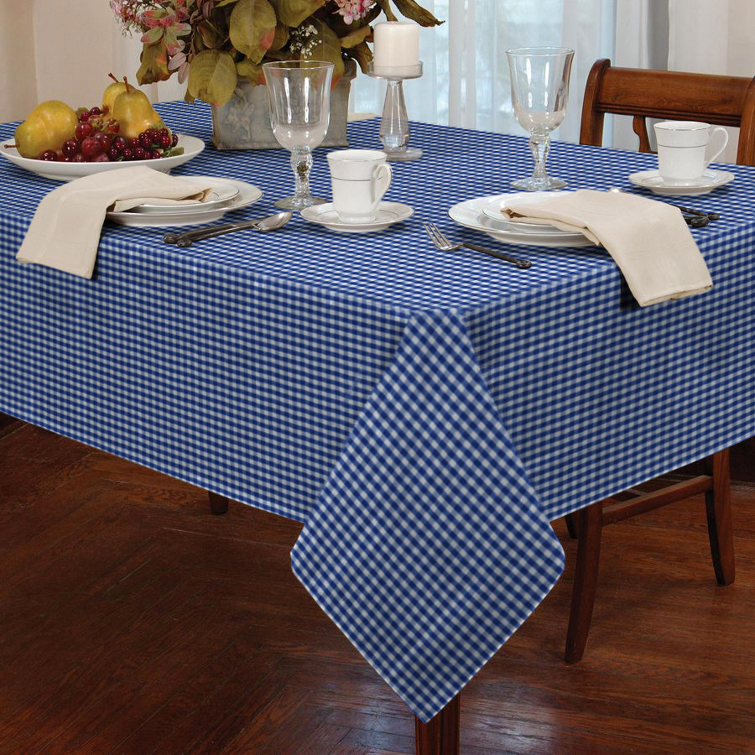 Gentil Garden Picnic Gingham Check Tablecloth Dining Room Table