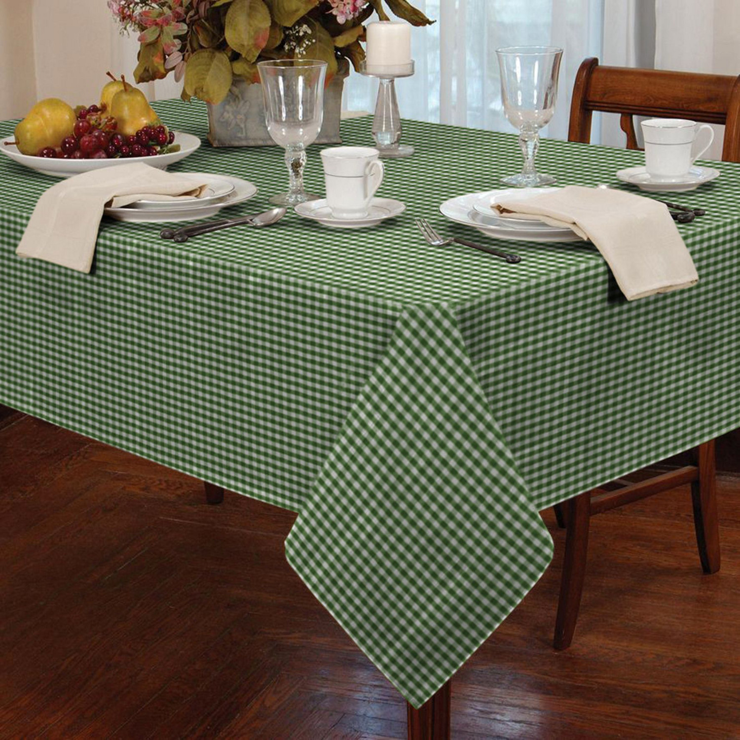 Charmant Garden Picnic Gingham Check Tablecloth Dining Room Table