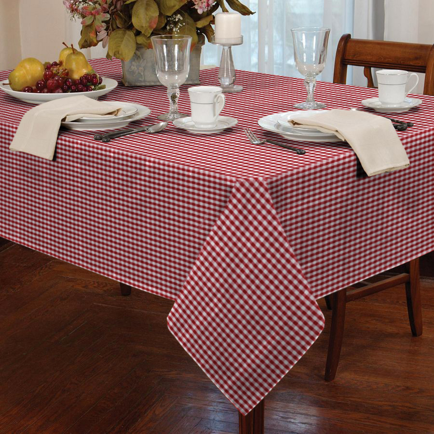 Garden Picnic Gingham Check Tablecloth Dining Room Table ...