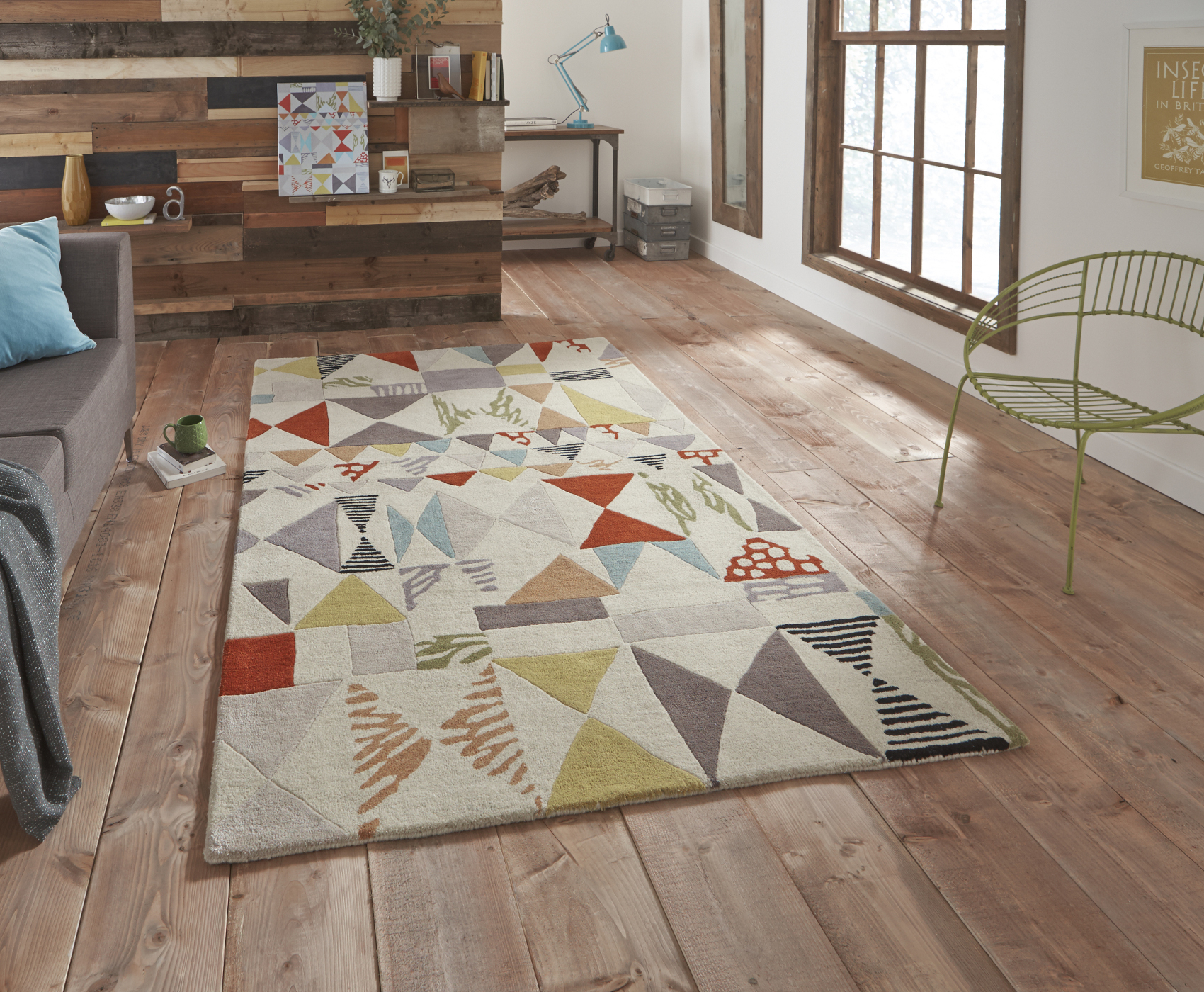 Fiona Howard Designer Rug Wool Blend Large Modern Retro Pattern