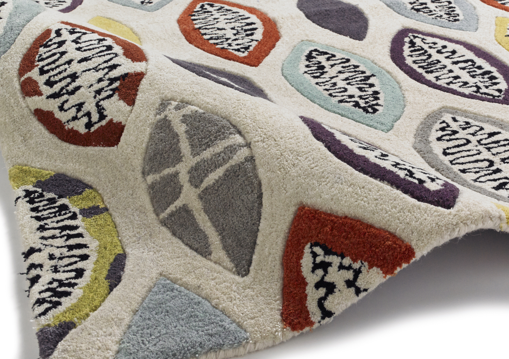 Fiona Howard Designer Rug Wool Blend Large Modern Retro Pattern Hand Tufted  Mat