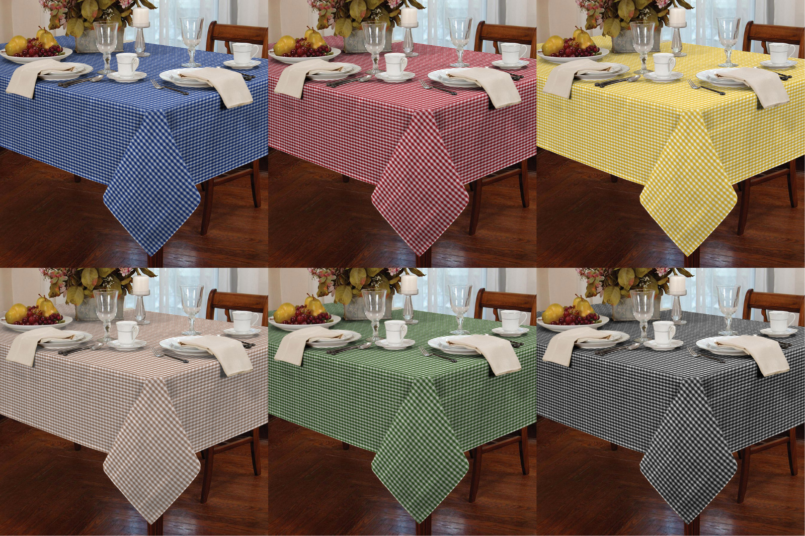 Round Kitchen Table Cloth Garden Picnic Gingham Check Tablecloth Dining Room Table Linen