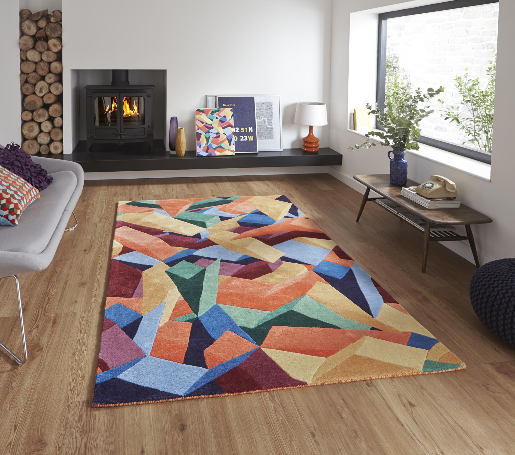 Designer Wool Blend Geometric Rug Adam Daly Multi