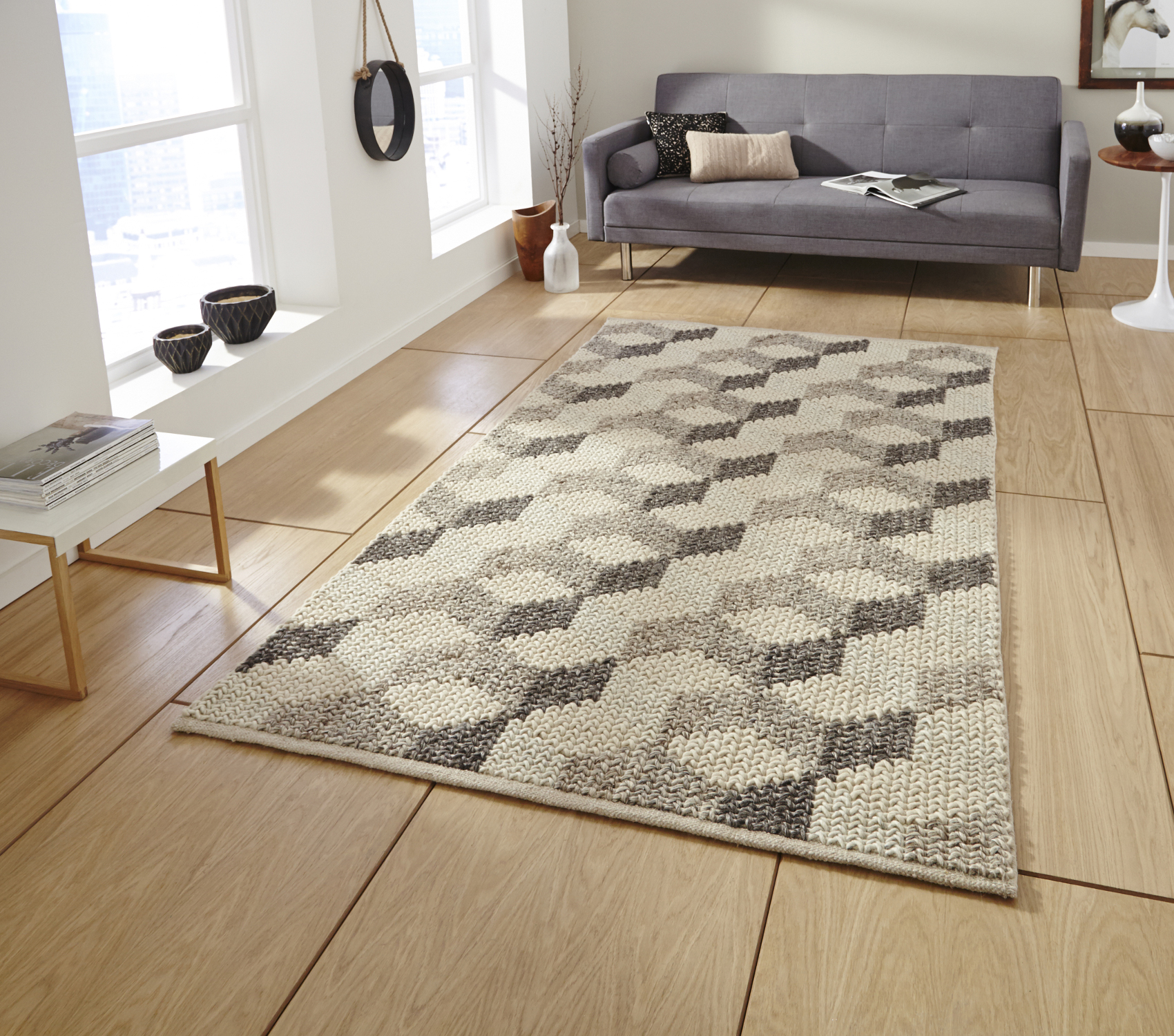 Alpha Hand Knotted 100% Wool Rug Neutral Textured Large