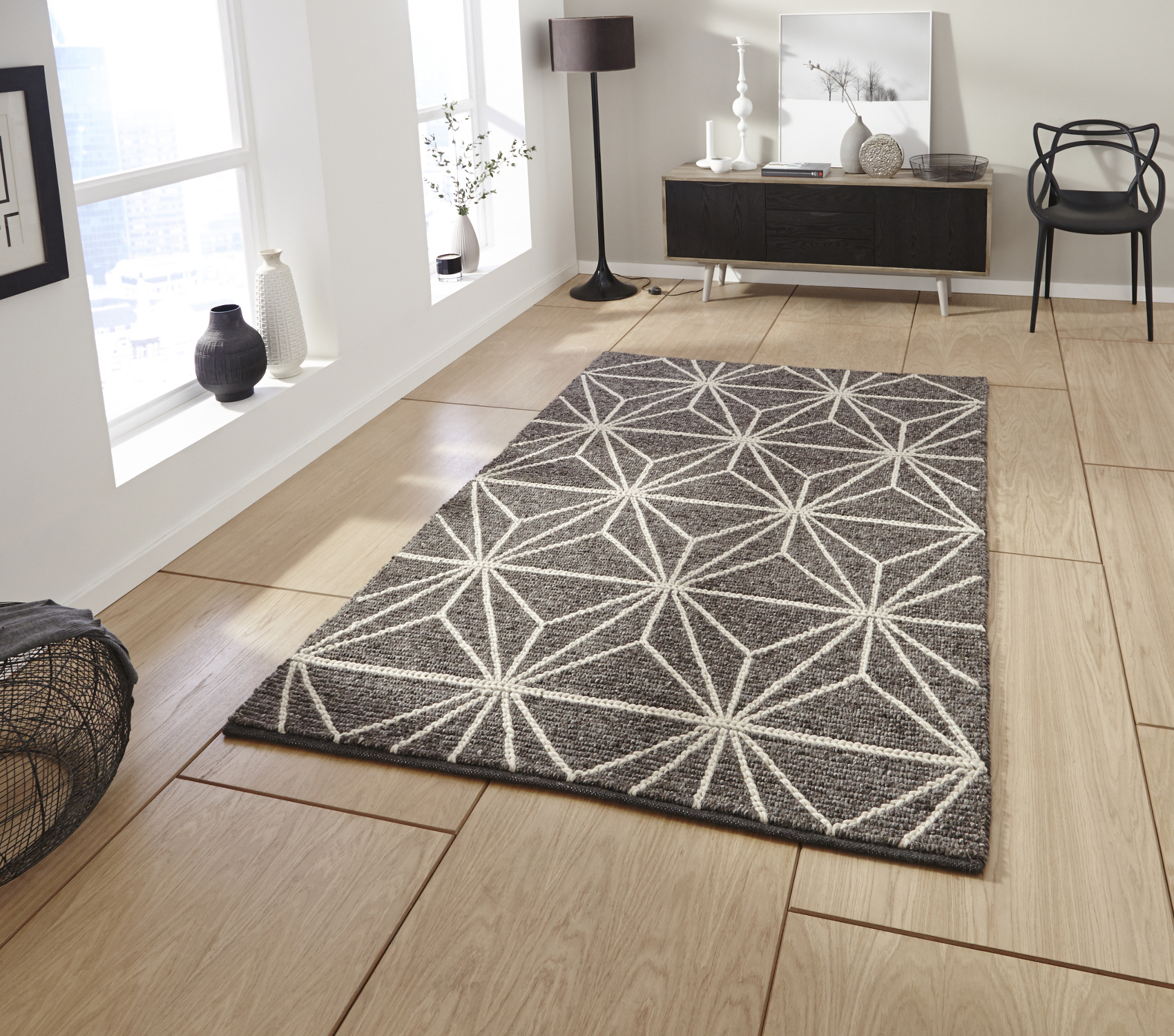 Alpha Hand Knotted 100 Wool Rug Neutral Textured