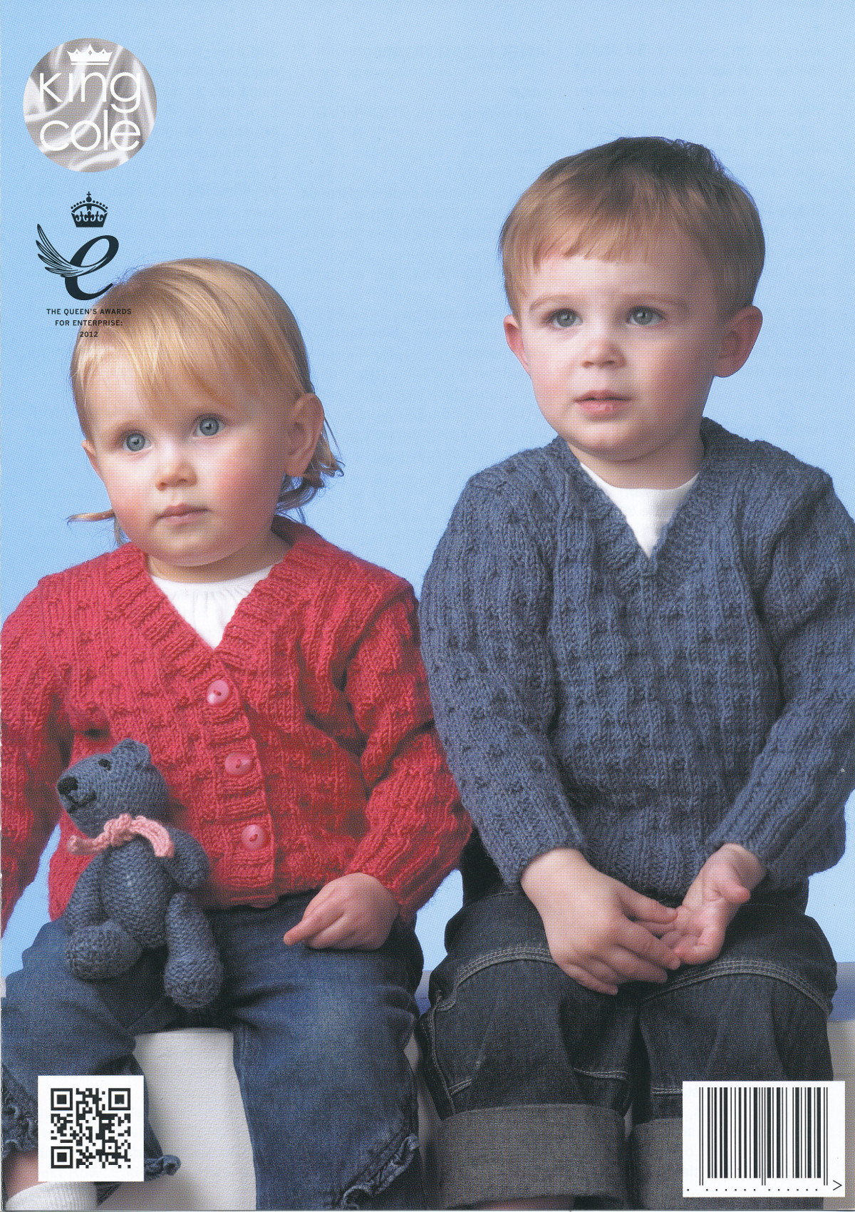 King Cole Teddy Bear Knitting Pattern : Double Knitting Pattern King Cole Baby Sweater Cardigan & Teddy Bear in D...