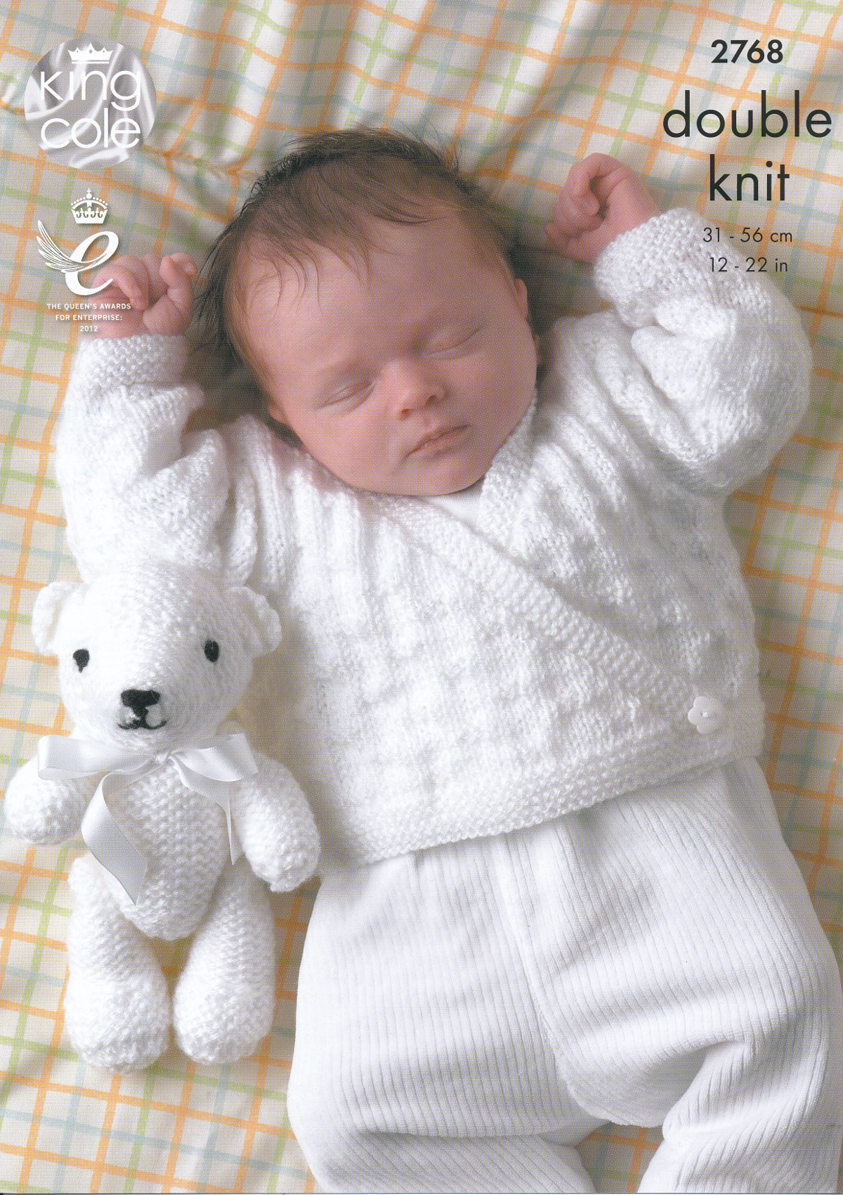 King Cole Double Knitting Pattern Baby Cardigan Sweater Teddy Bear DK Wool 27...