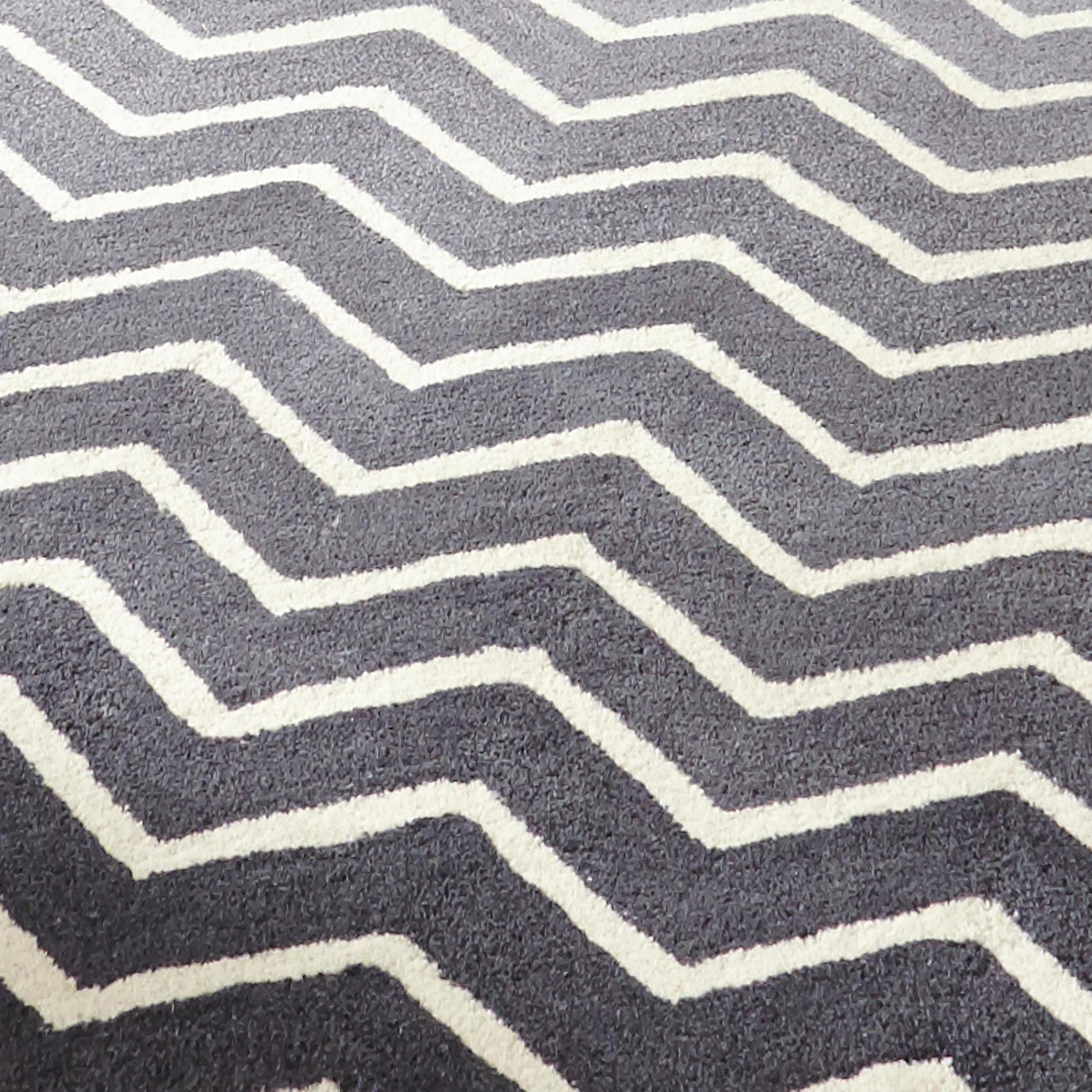 White Grey 100% Wool Large Floor Spectrum Rug Modern Zig