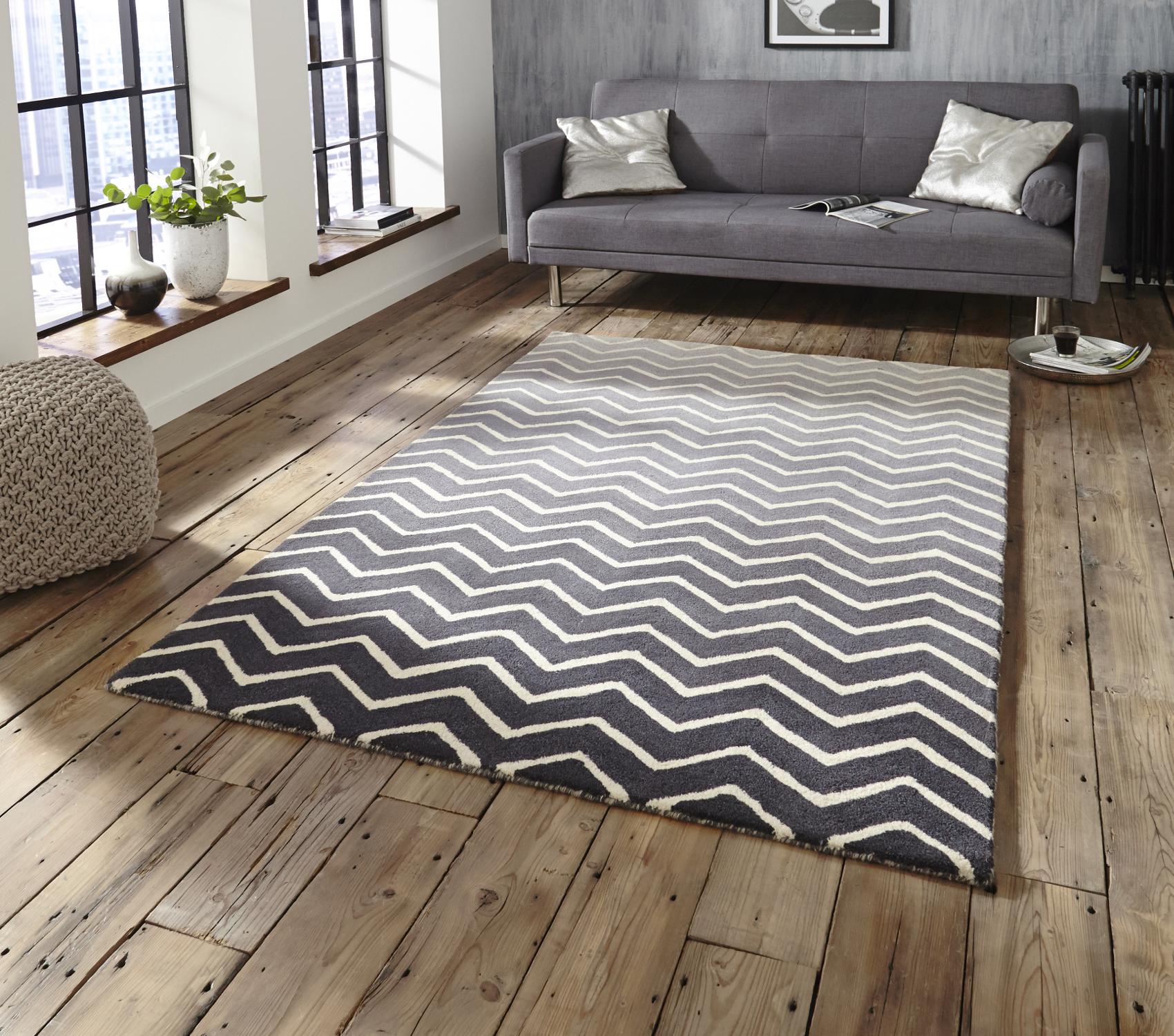 White Grey 100 Wool Large Floor Spectrum Rug