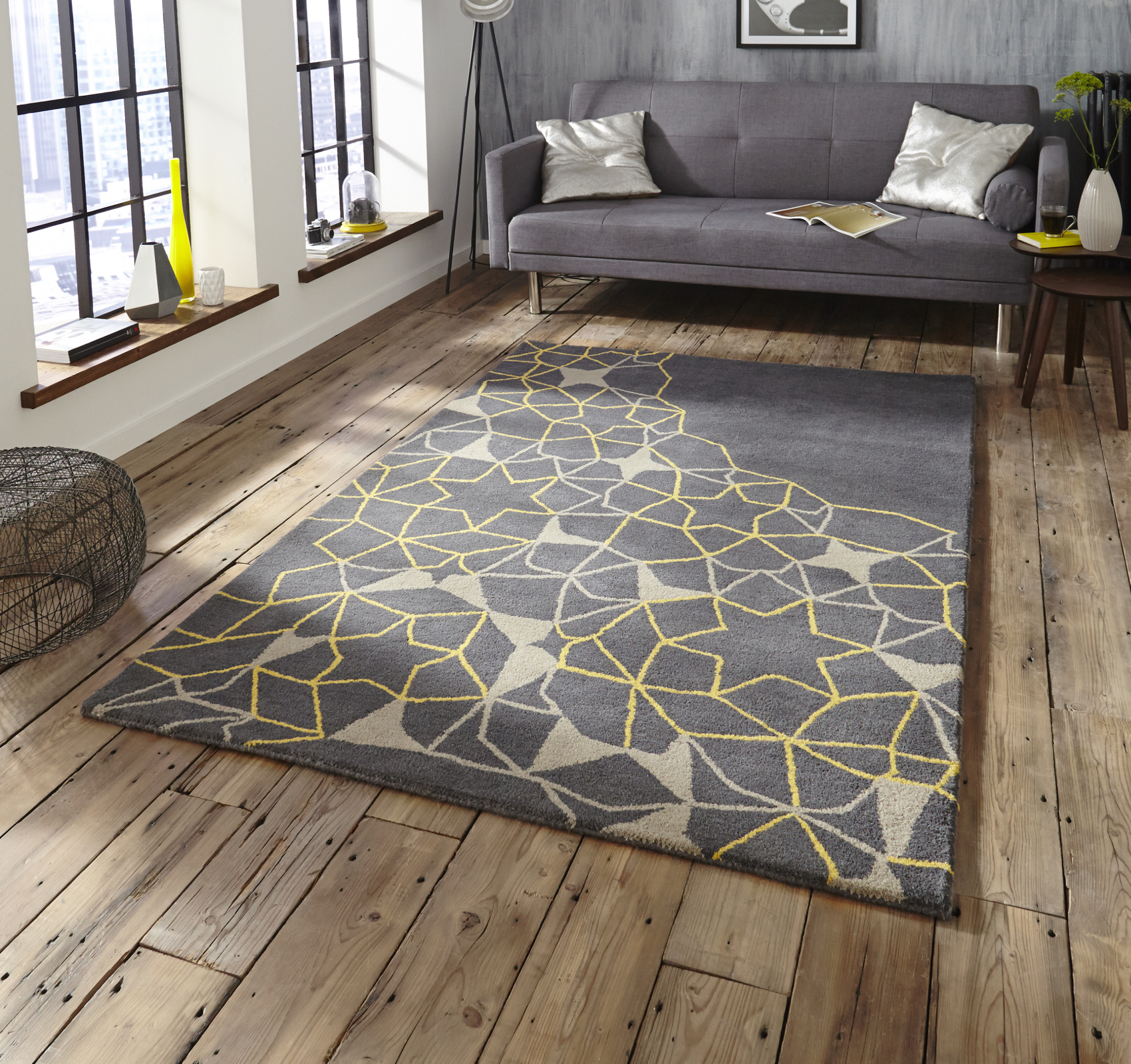 Spectrum Hand Tufted Arrows Stars Rug 100% Wool Modern
