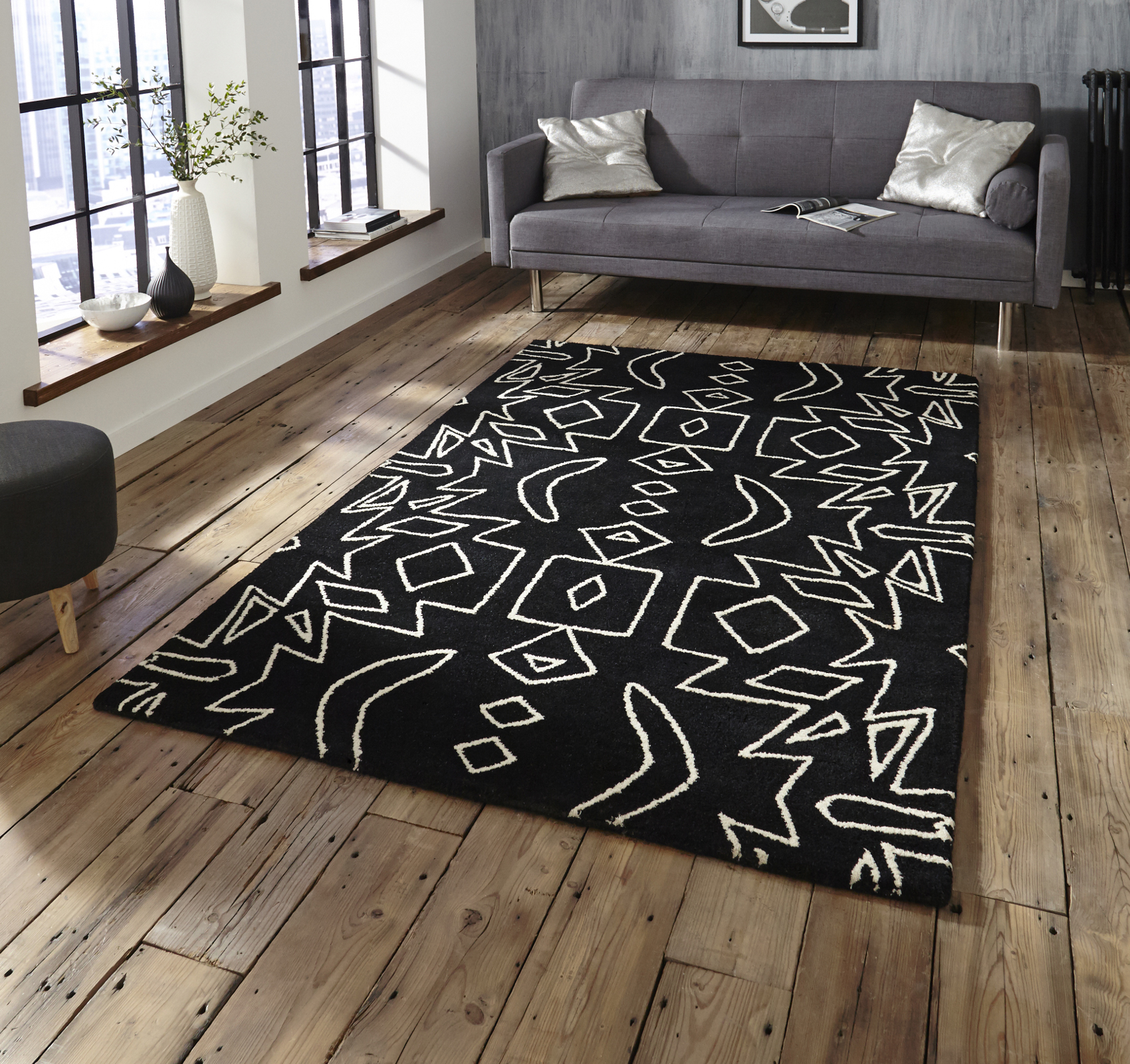 Black White Modern Tribal Rug 100 Wool Monochrome