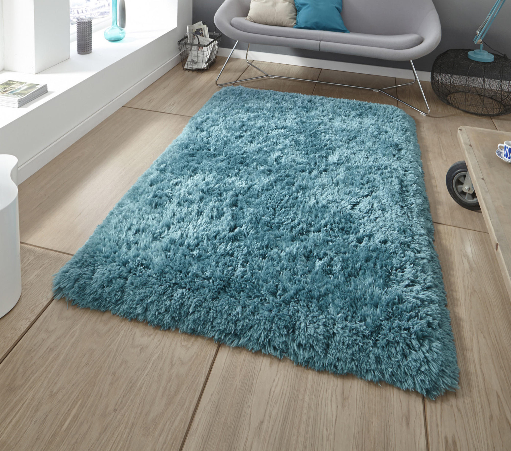 home room luxury hand super thick itm pile steel mat rug decor shaggy plain soft blue tufted montana