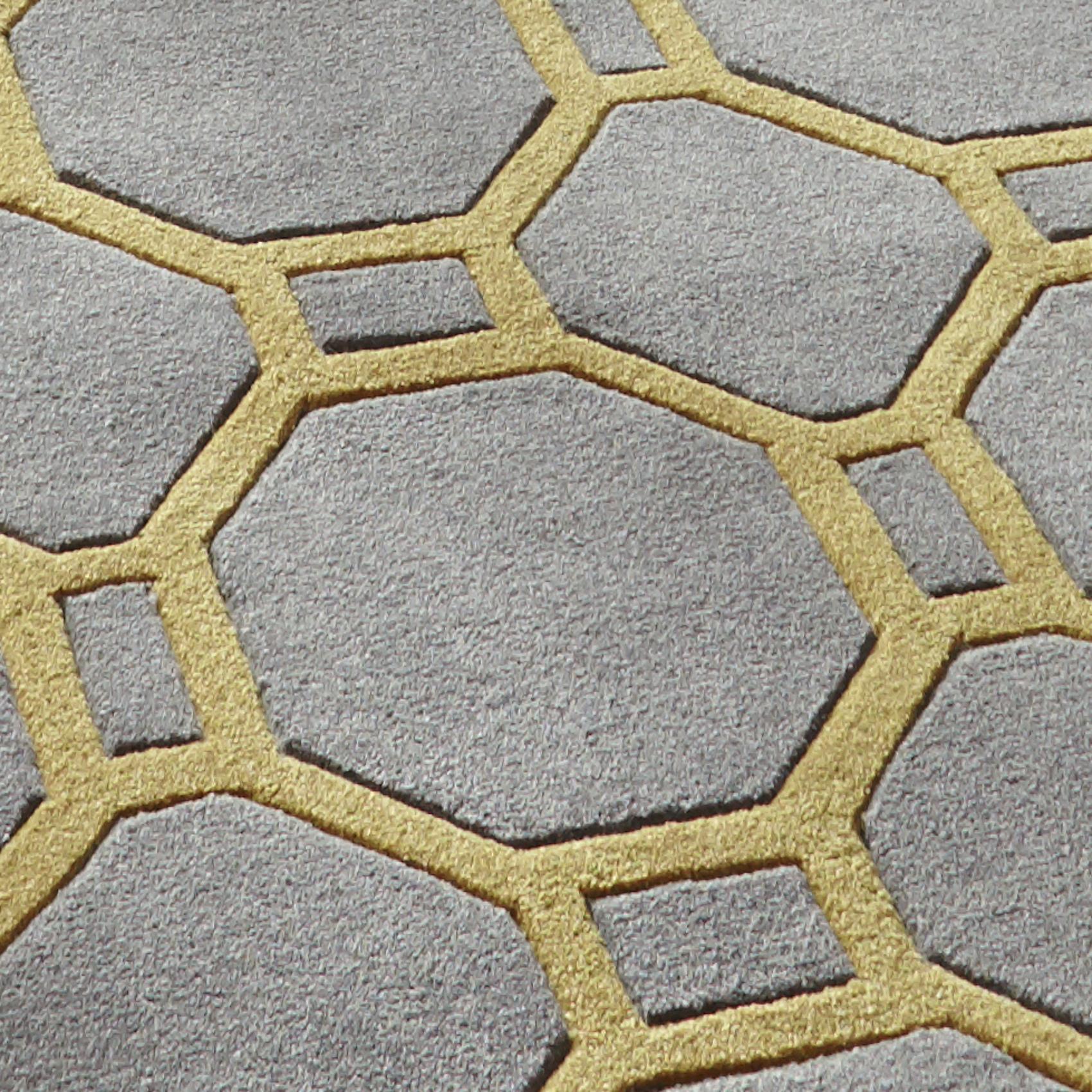 Geometric Rug Yellow U0026 Grey