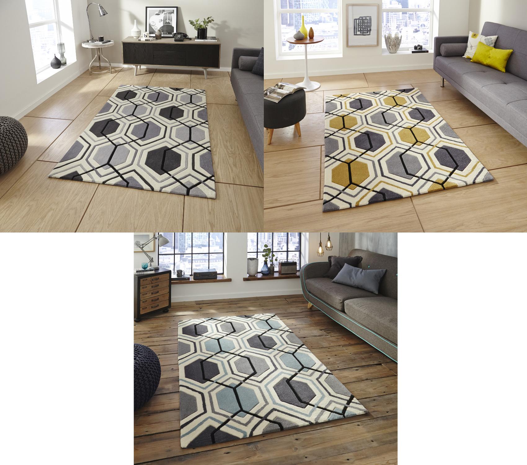 Hong Kong Hexagon Rug 100 Acrylic Hand Tufted Large Geometric Home Decor Mat