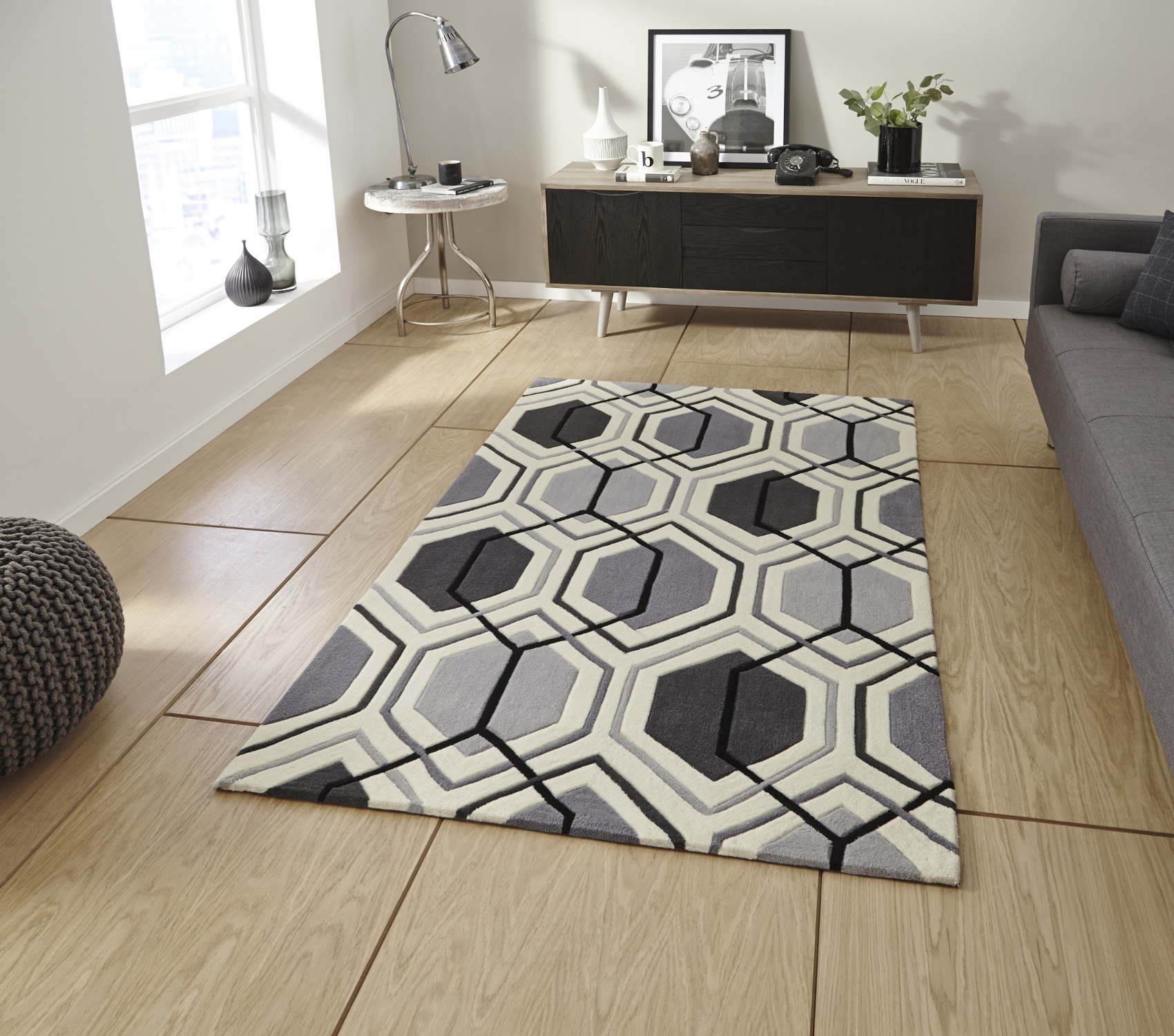 Hong Kong Hexagon Rug 100 Acrylic Hand Tufted