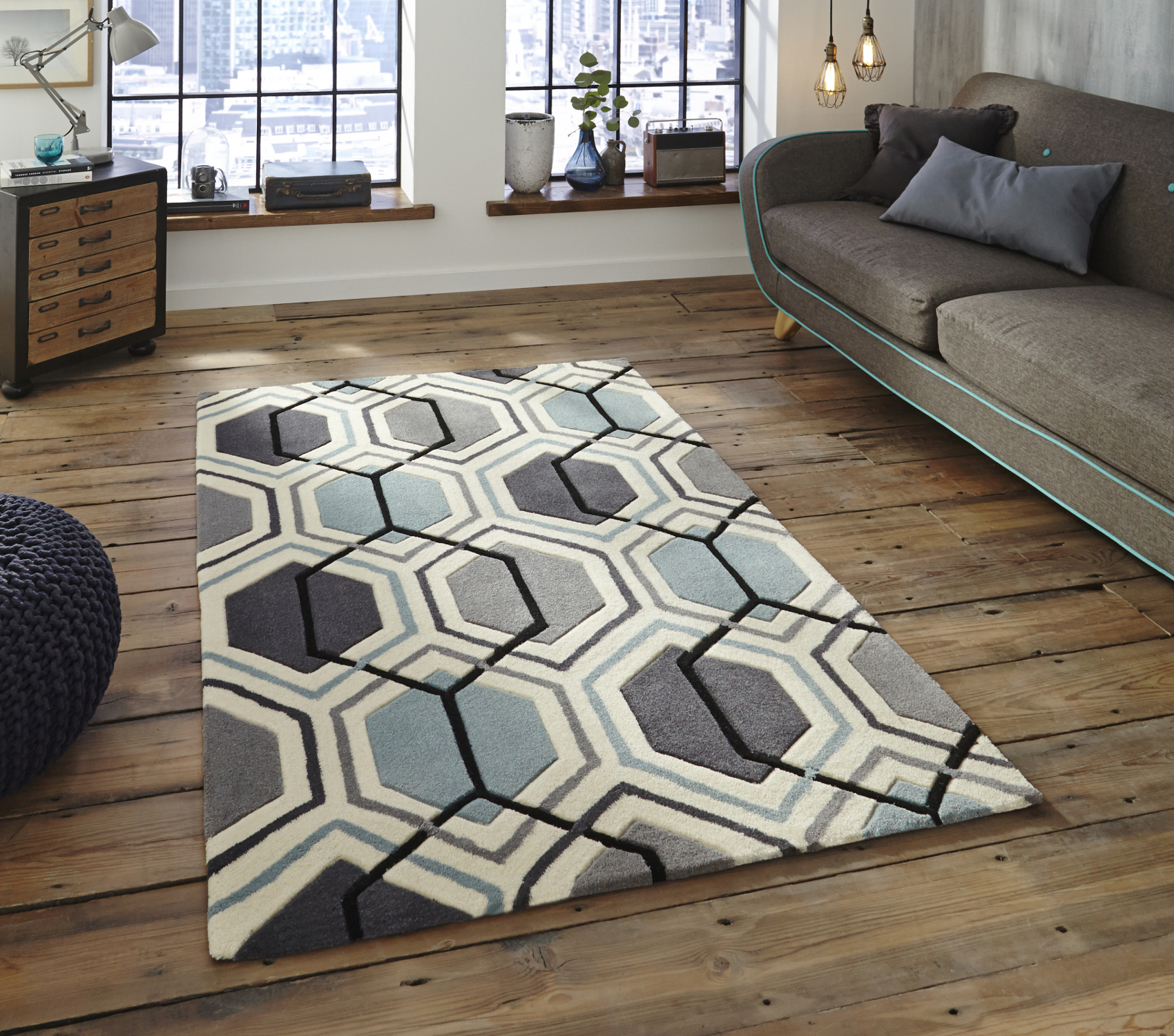 Hong Kong Hexagon Rug 100 Acrylic Hand Tufted Large