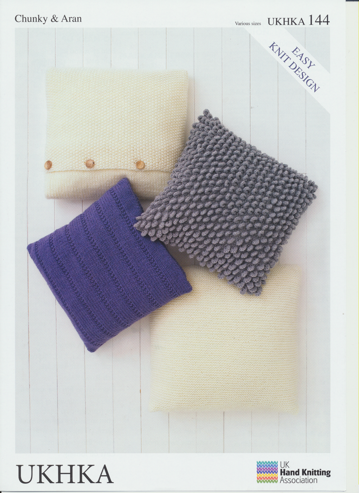 Ukhka Knitting Patterns : Easy knit design cushion covers aran chunky wool