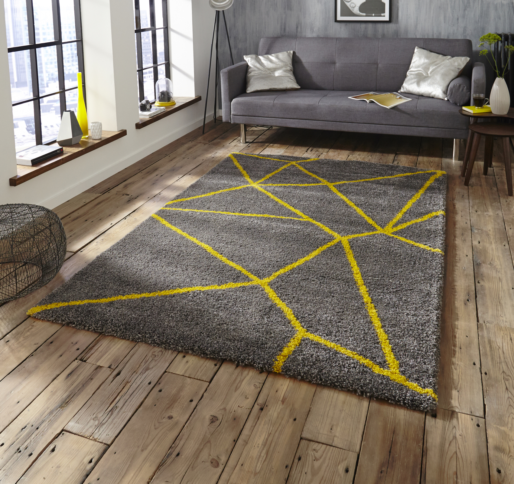 Grey Yellow Shaggy Pile Rug Royal Nomadic Geometric Design