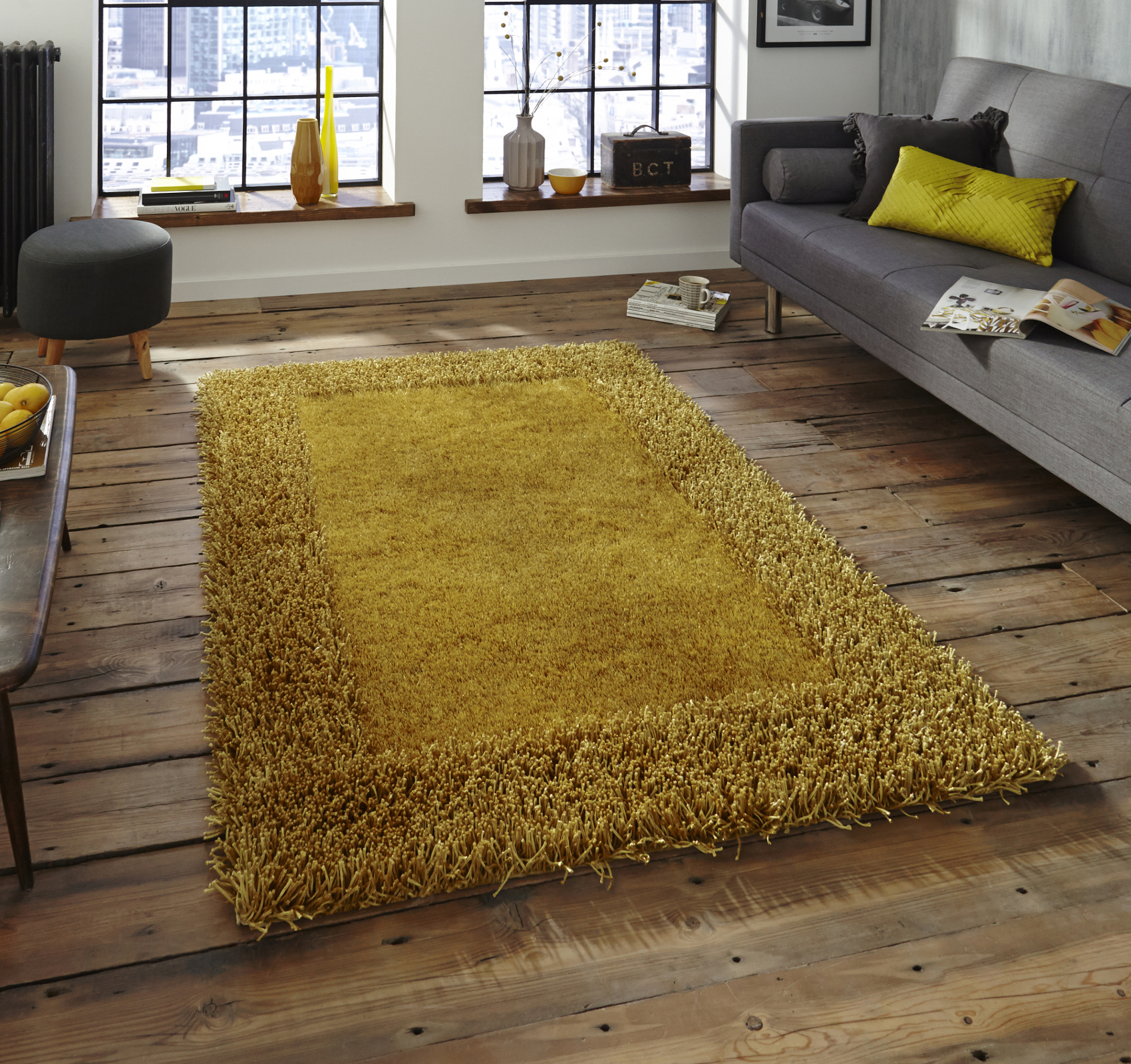 Yellow Shaggy Rug Uk: Soft Sable Shaggy Pile Rug Hand Tufted Rectangle Design
