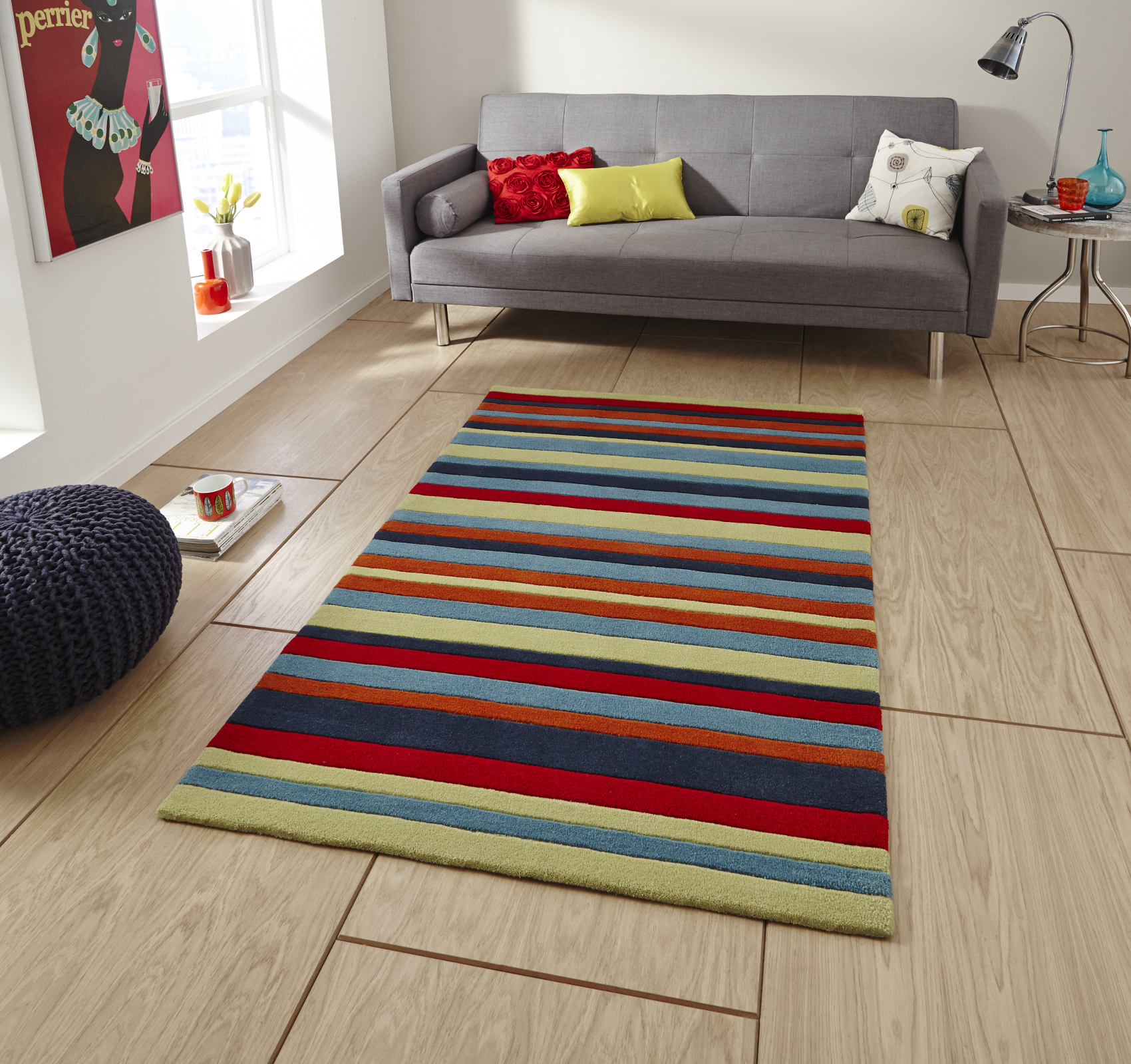 Hong Kong Hand Tufted Large Modern Rug Striped Design Acrylic Home ...