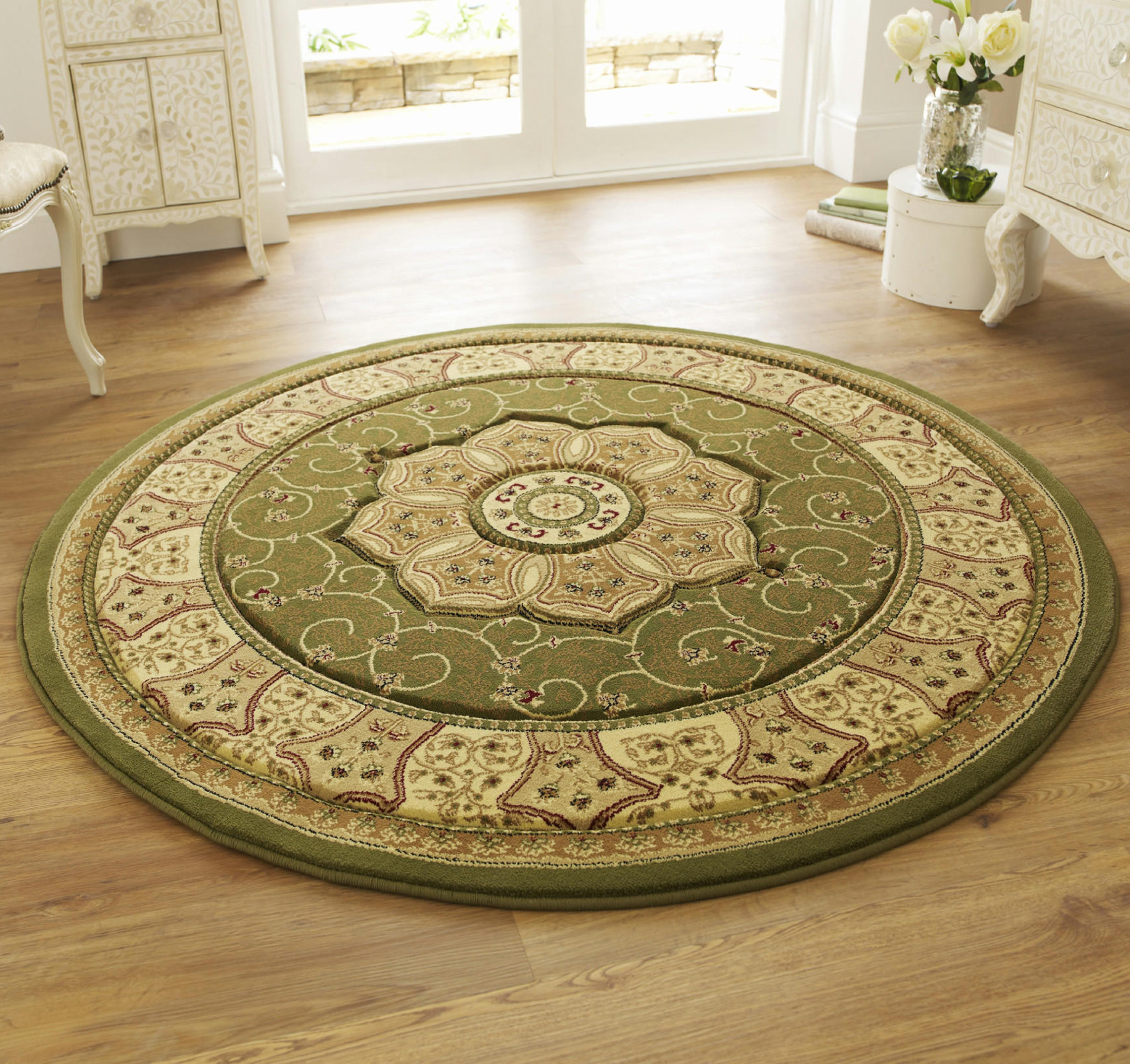 Wool Look Traditional Floral Swirl Pattern Rug Classic