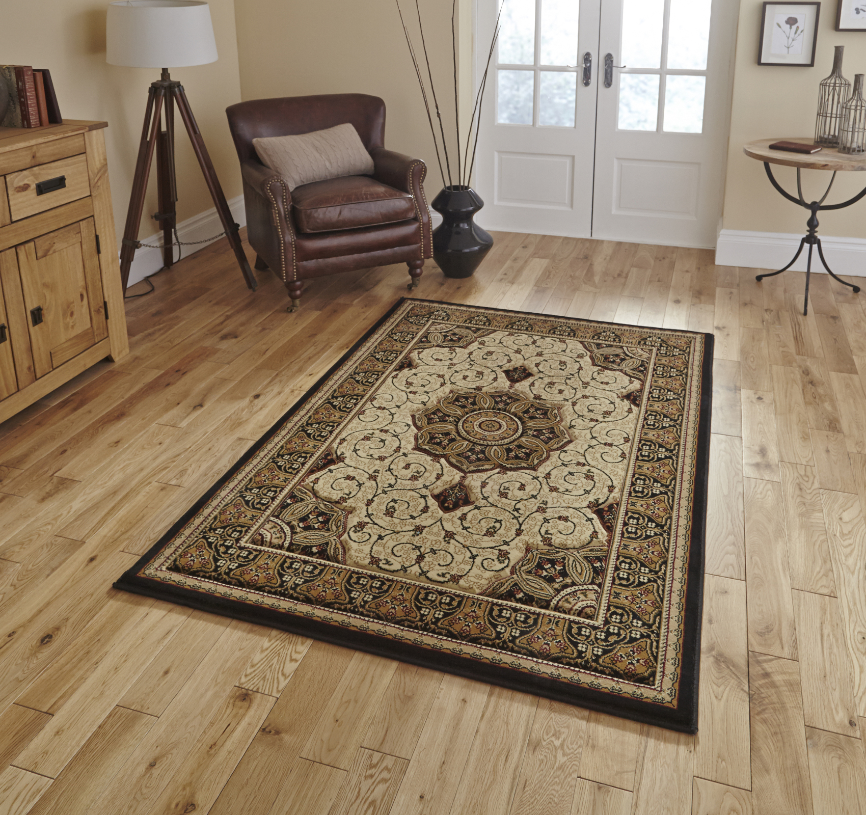 Traditional Heritage Soft Wool Look Pile Rug Floral