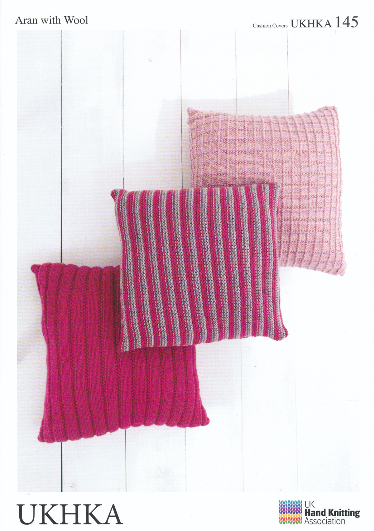 Aran Knitting Pattern UKHKA 145 Easy Knit Striped Ribbed Squares Cushion Cove...