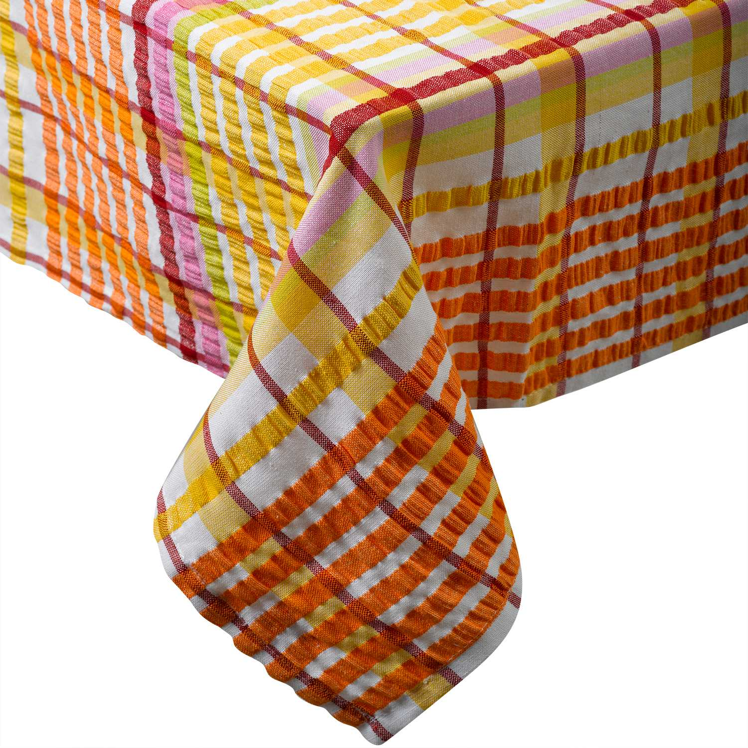 Traditional Bright Seersucker Table Cloth 100  Cotton Checked Dining Room  LinenTraditional Bright Seersucker Table Cloth 100  Cotton Checked  . Dining Room Linen Tablecloths. Home Design Ideas