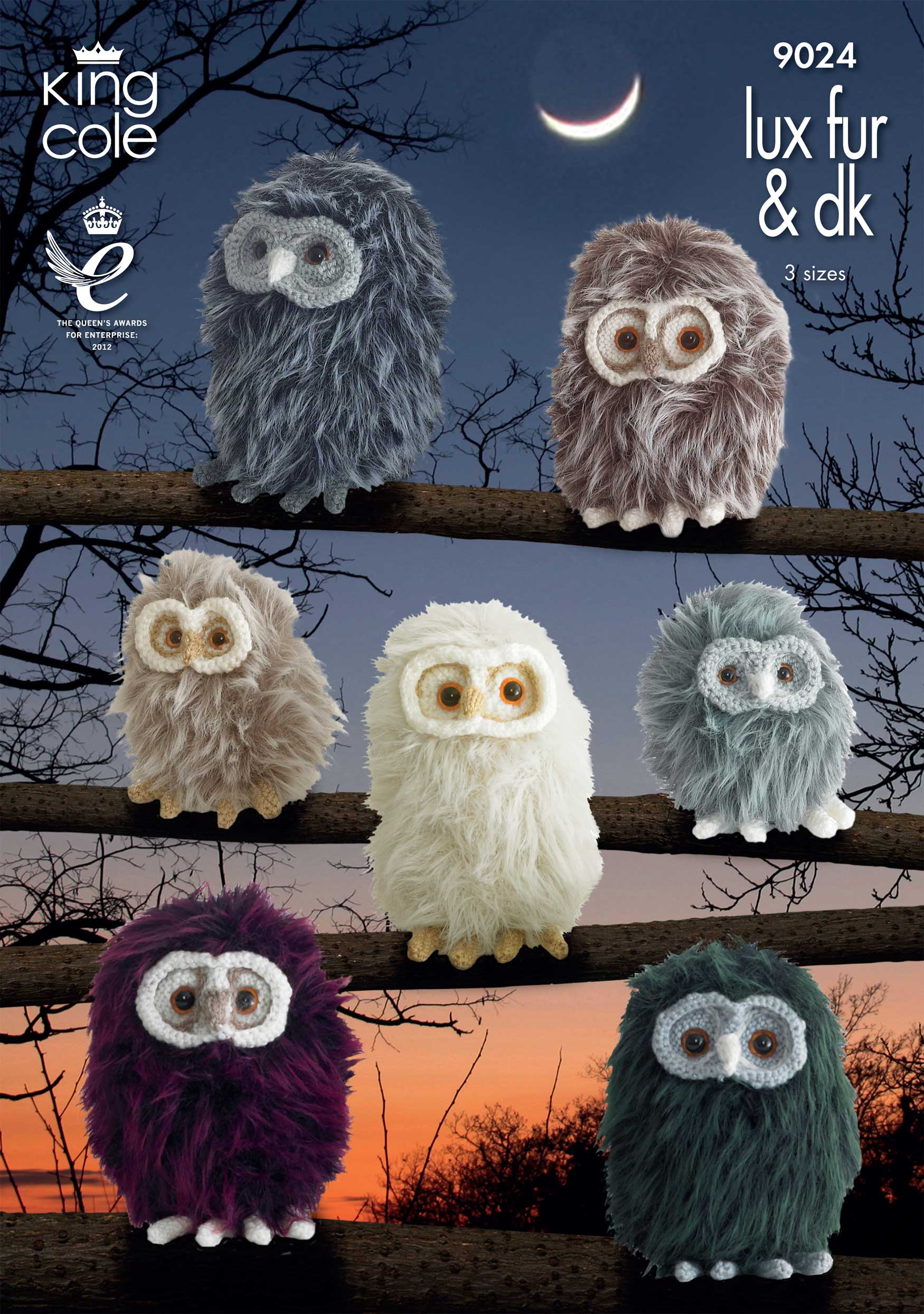 Luxe Fur Baby Owls Knitting Pattern Easy Knit Animal Toy Craft King Cole 9024...