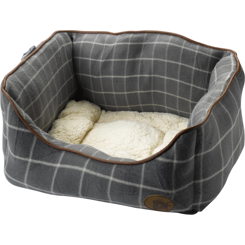 petface window pane check square pet dog bed faux sheepskin  - petfacewindowpanechecksquarepetdogbed