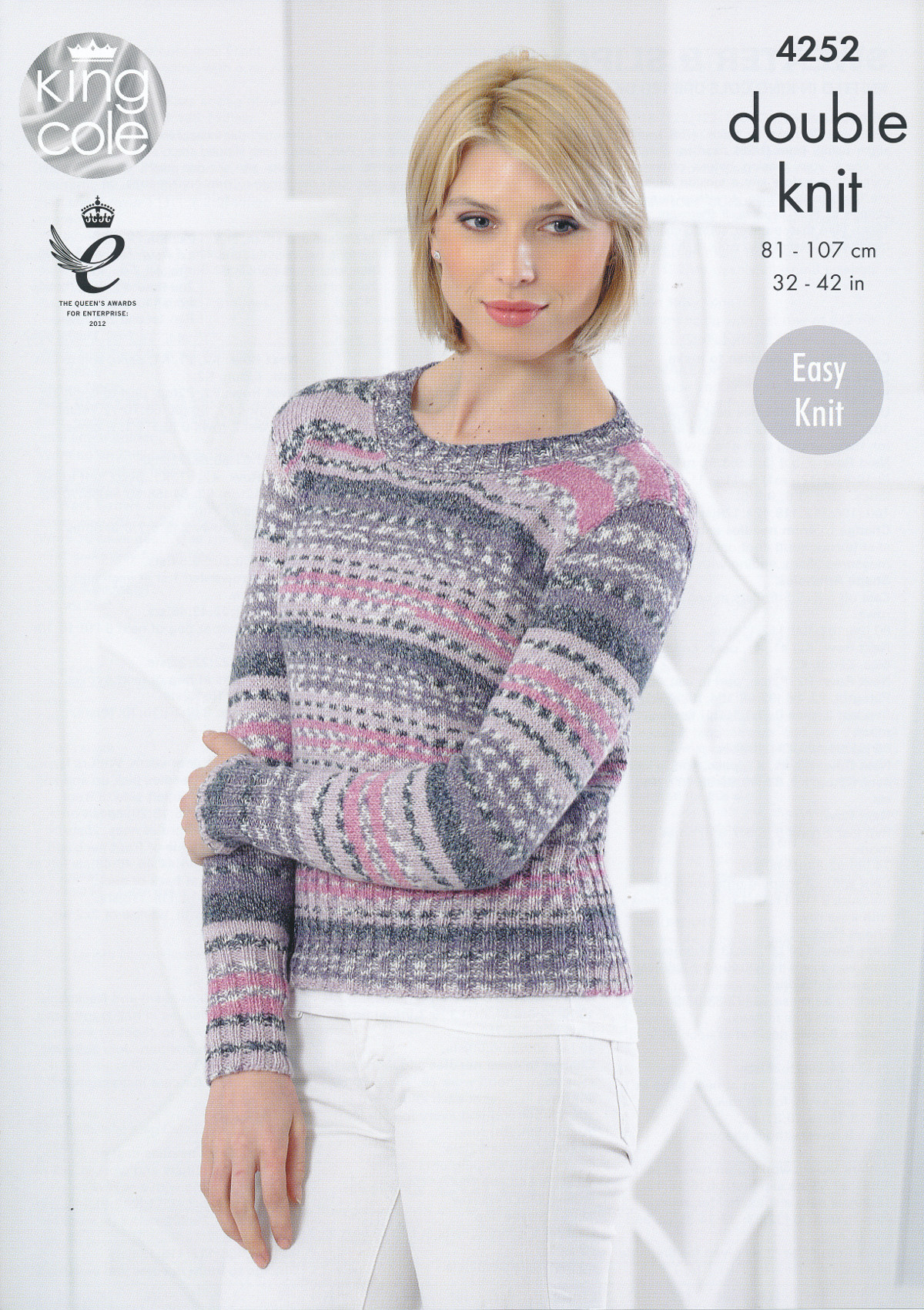 Ladies Double Knit DK Pattern King Cole Easy Knit Ribbed Pullover Sweater 425...
